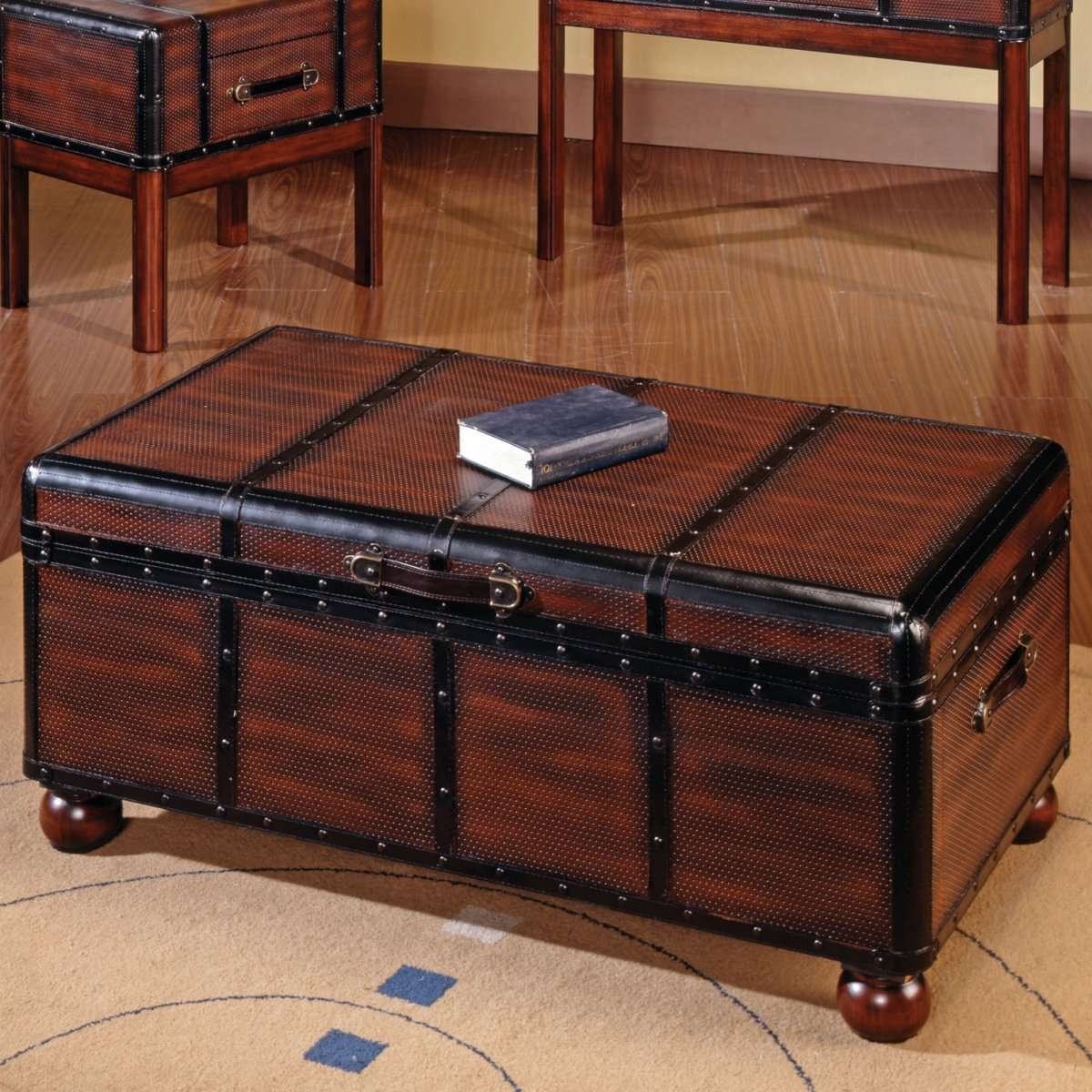 Popular Dark Wood Chest Coffee Tables Intended For Coffee Table : Ottoman Trunk Coffee Table Treasure Chest Side (View 17 of 20)