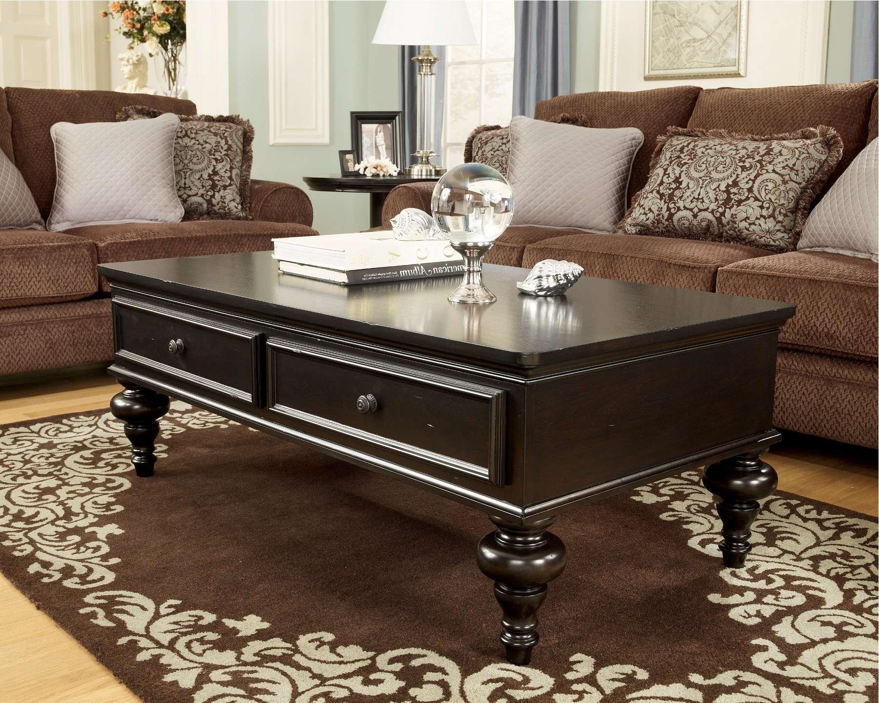 Popular Dark Wood Coffee Table Storages With Regard To Coffee Table : Wonderful Ashley Furniture Bar Stools Ashley (View 8 of 10)