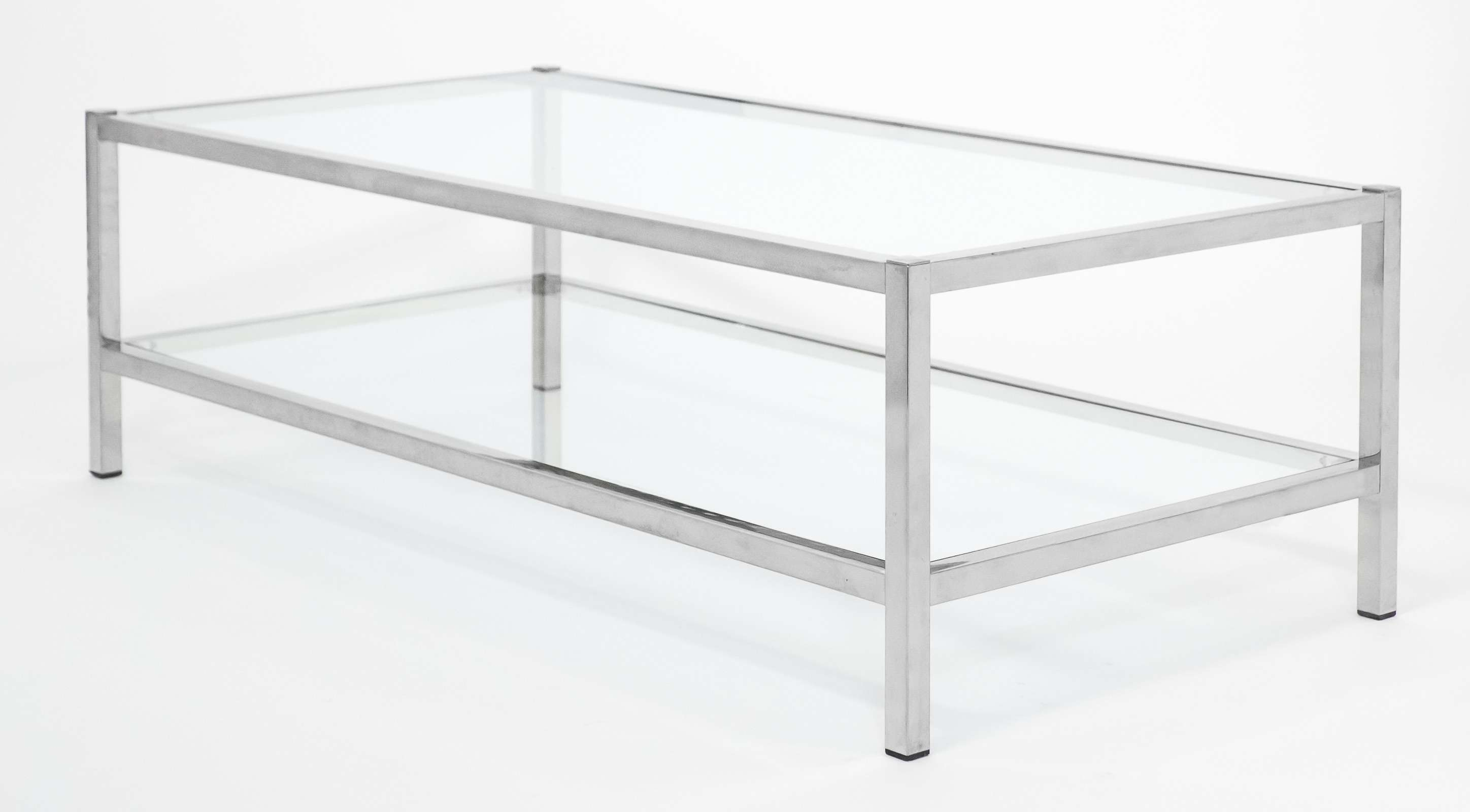 Popular Glass Chrome Coffee Tables Within Coffee Tables : Mesmerizing Grey And Clear Rectangle Simple Chrome (View 17 of 20)