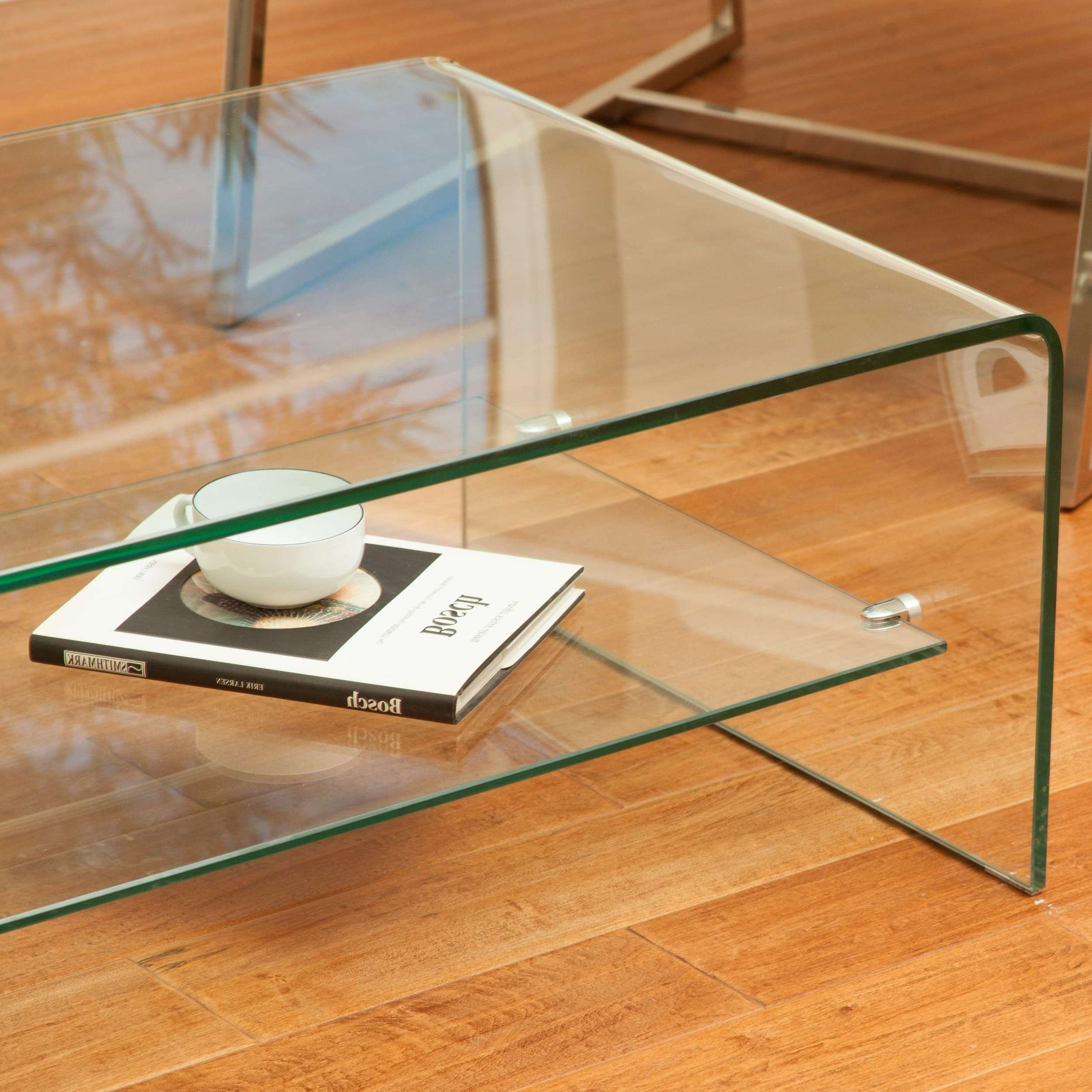 Popular Glass Coffee Table With Shelf For Ramona Glass Coffee Table With Shelfchristopher Knight Home (View 14 of 20)