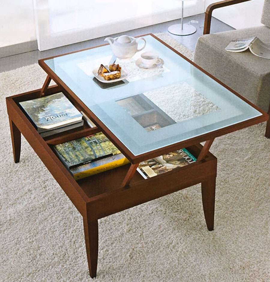 Popular Glass Top Storage Coffee Tables In Coffee Table: Extraordinary Glass Top Coffee Table With Storage (View 13 of 20)