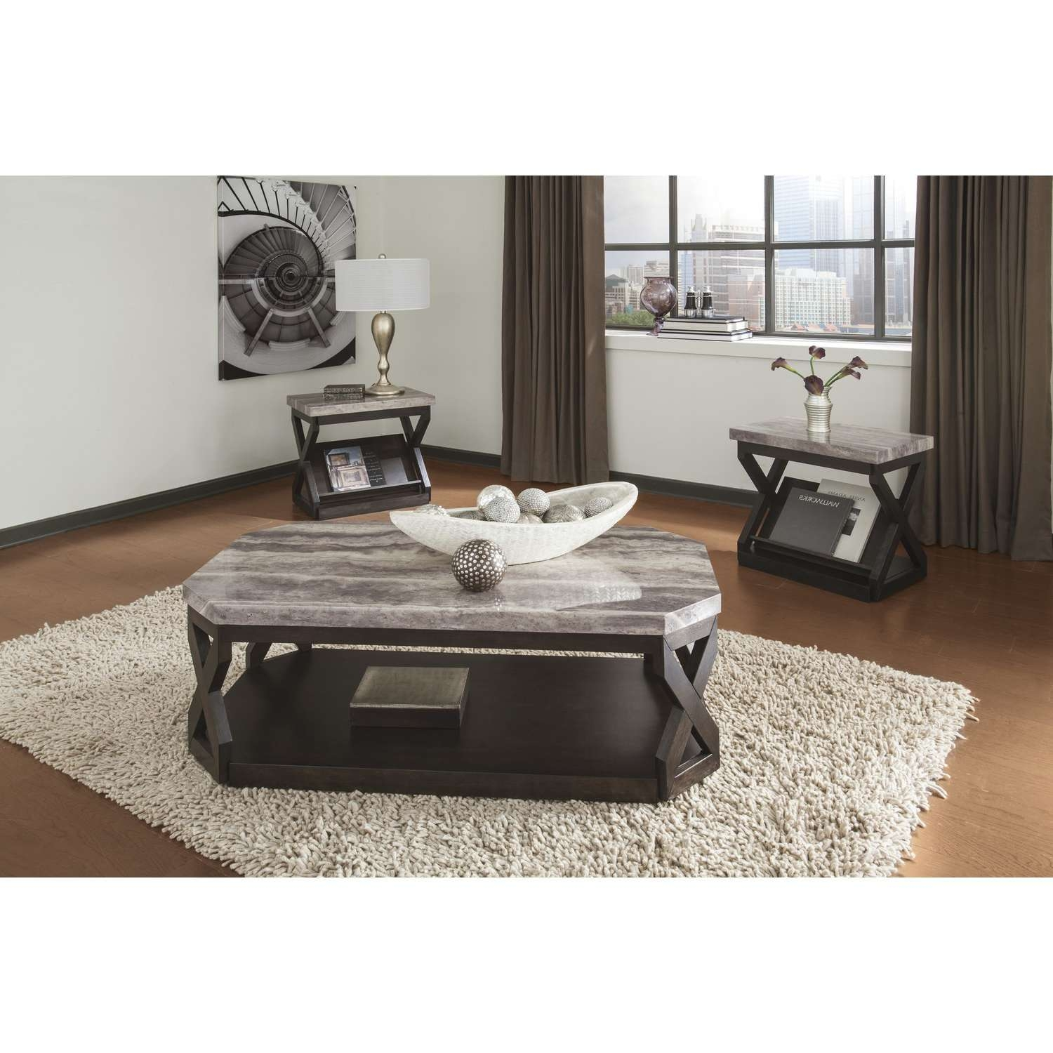 Popular Grey Coffee Table Sets For Furniture Elegant Granite Top Coffee Table Sets For Living Room (View 16 of 20)