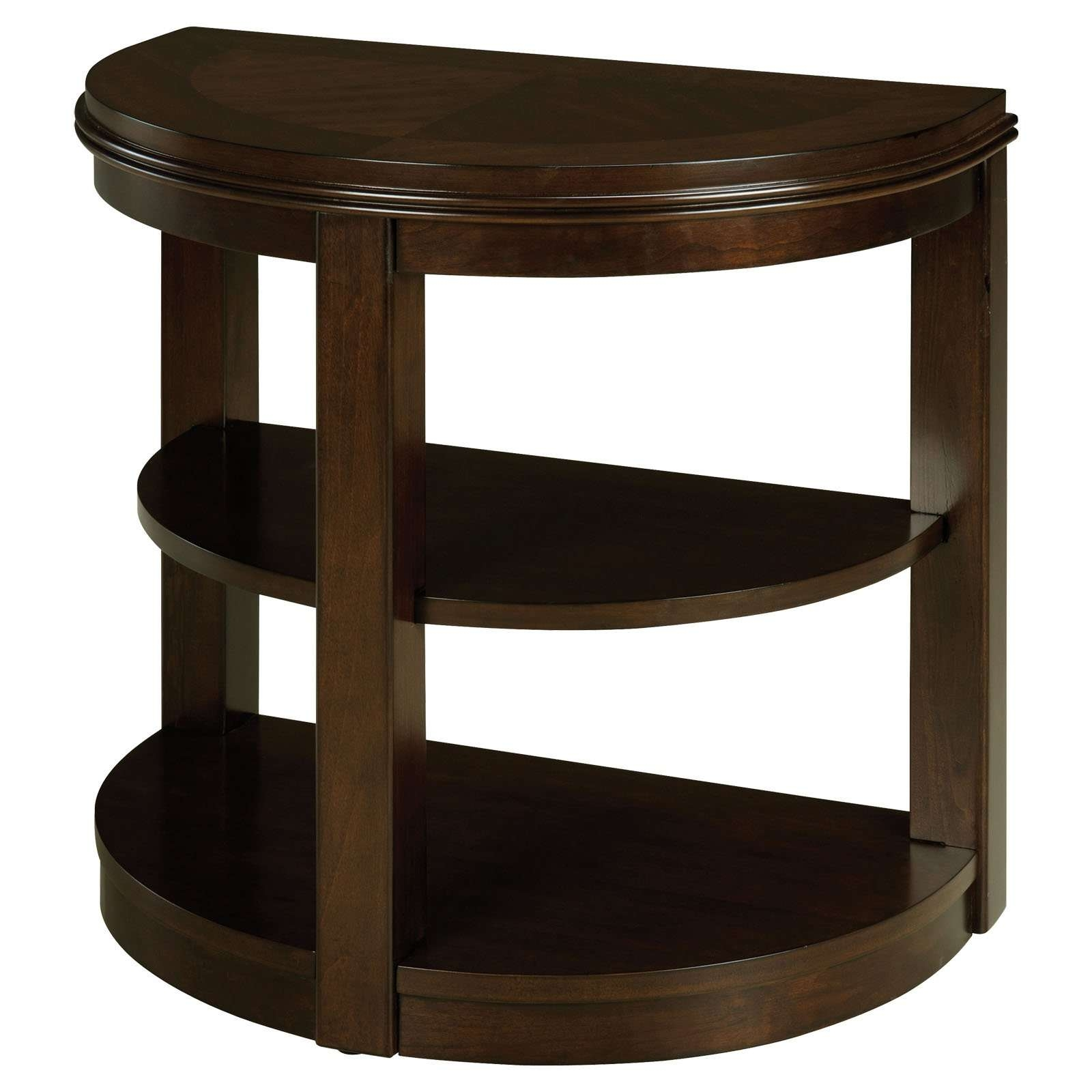 Popular Half Circle Coffee Tables With Standard Furniture Spencer Half Round Wood Chair Side Table (View 18 of 20)