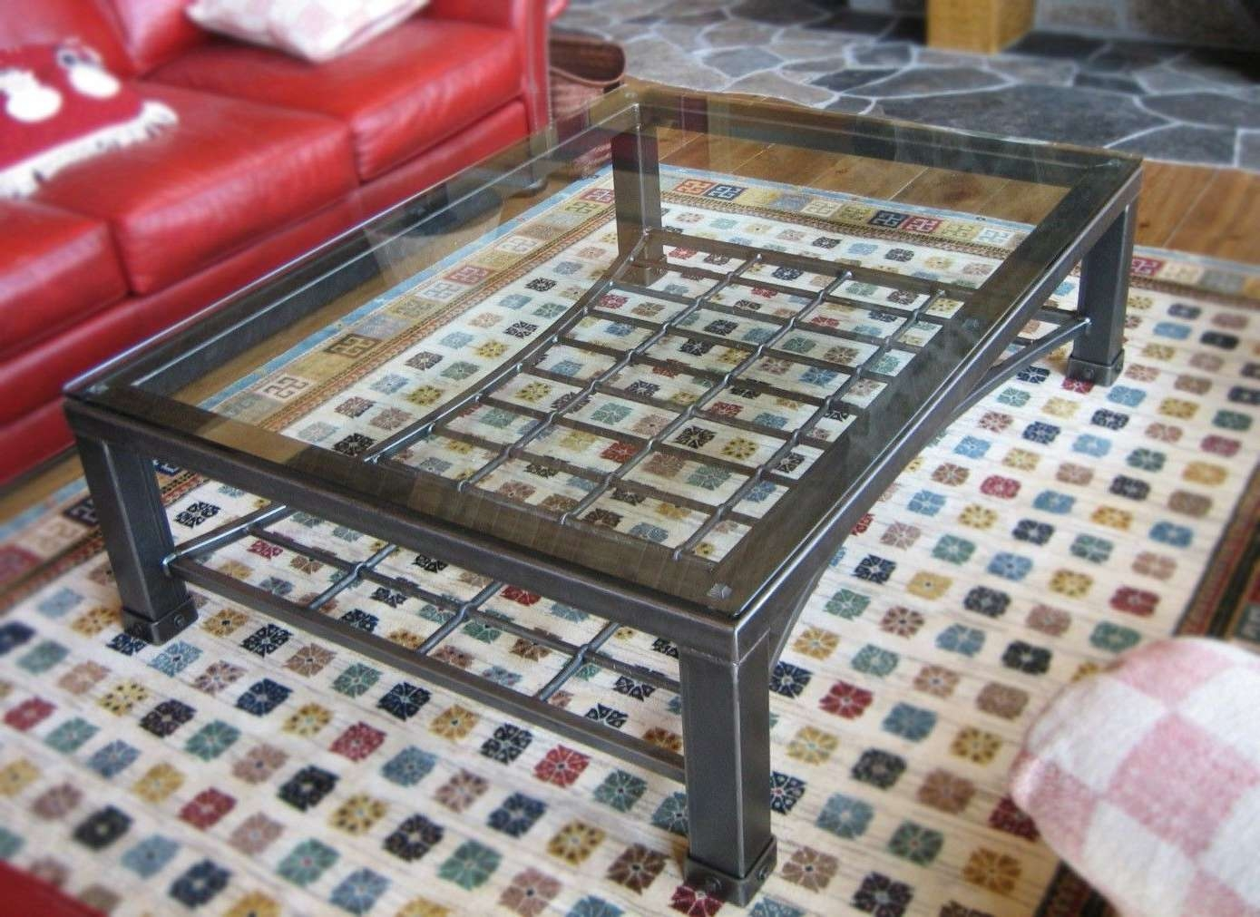 Popular Iron Glass Coffee Table Regarding Custom Made Iron & Glass Coffee Tabledesiron Custom Metal (View 7 of 20)