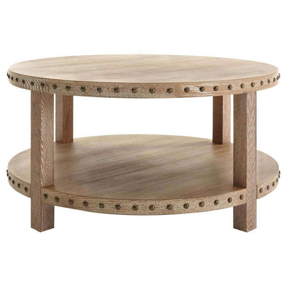 Popular Light Oak Coffee Tables Inside Home Decorators Collection Nailhead Light Washed Oak Coffee Table (View 14 of 20)