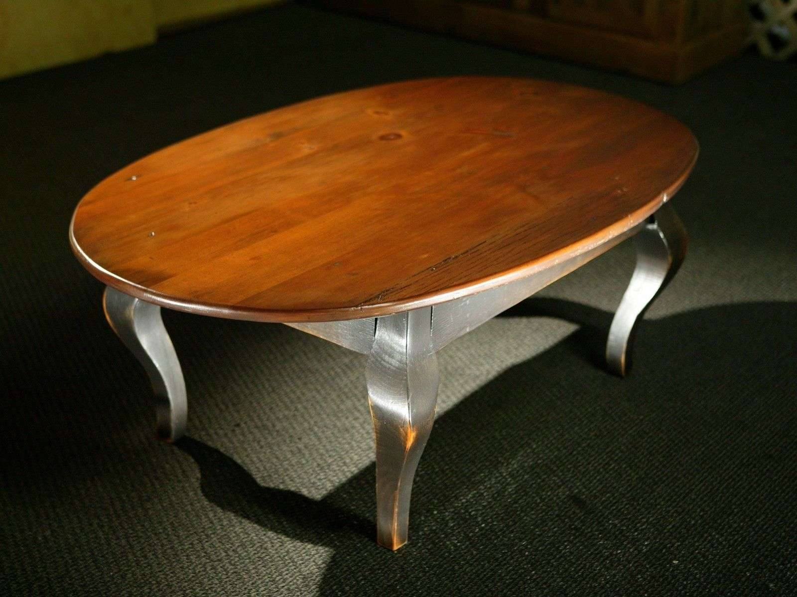 Popular Oval Wooden Coffee Tables With Hand Crafted Oval Wood Coffee Table With Black French Legs (View 16 of 20)