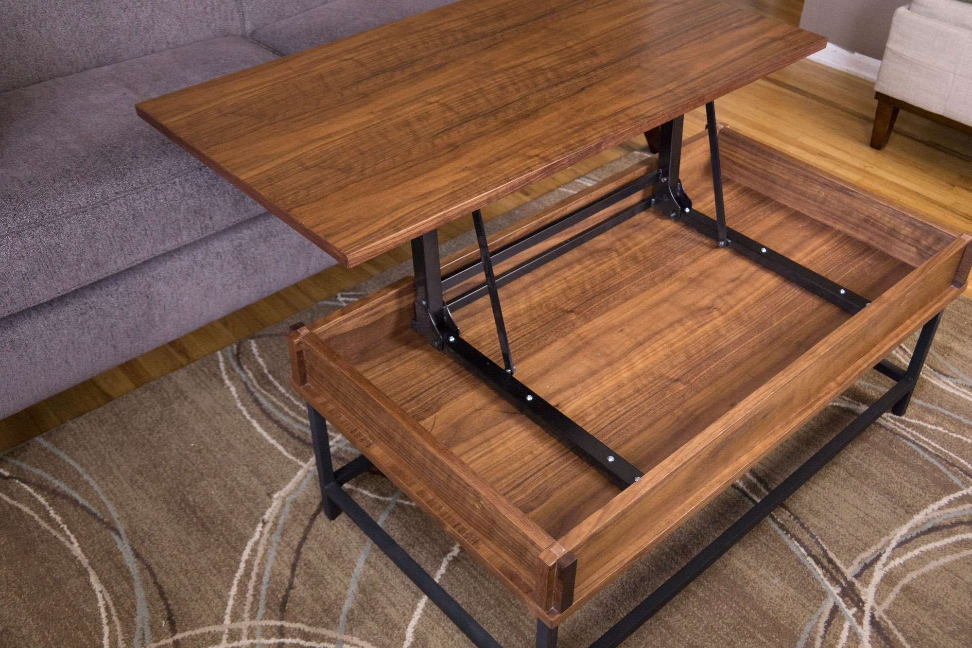 Popular Raisable Coffee Tables With Regard To Coffee Tables : Extraordinary Dark Brown Modern Wood Lift Top (View 11 of 20)
