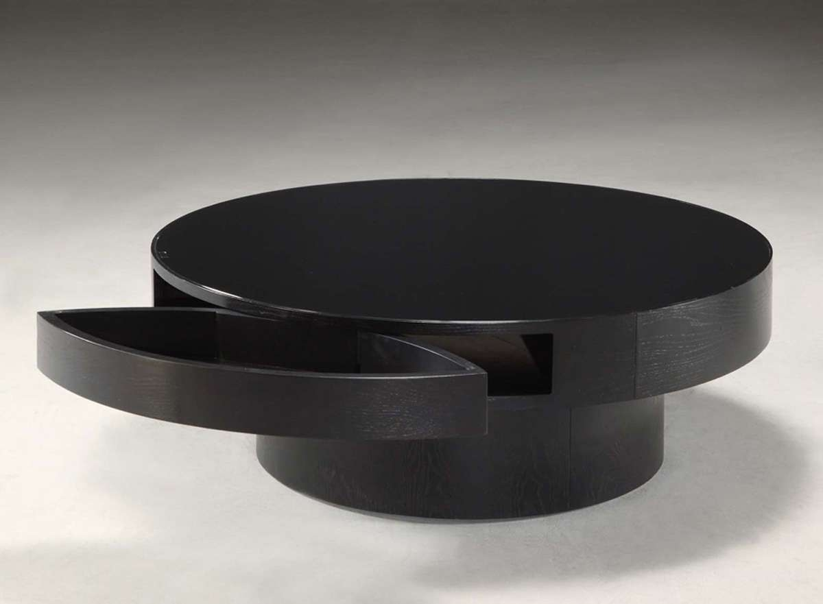 Popular Round Coffee Tables With Storages Pertaining To Black Wood Coffee Table Storage Padded Round Black Wooden Coffee (View 11 of 20)