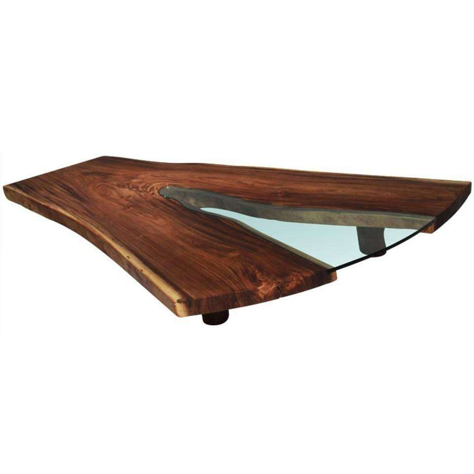 Popular Solid Glass Coffee Tables For Massive Live Edge Solid Tamboril Slab And Glass Coffee Table For (View 16 of 20)