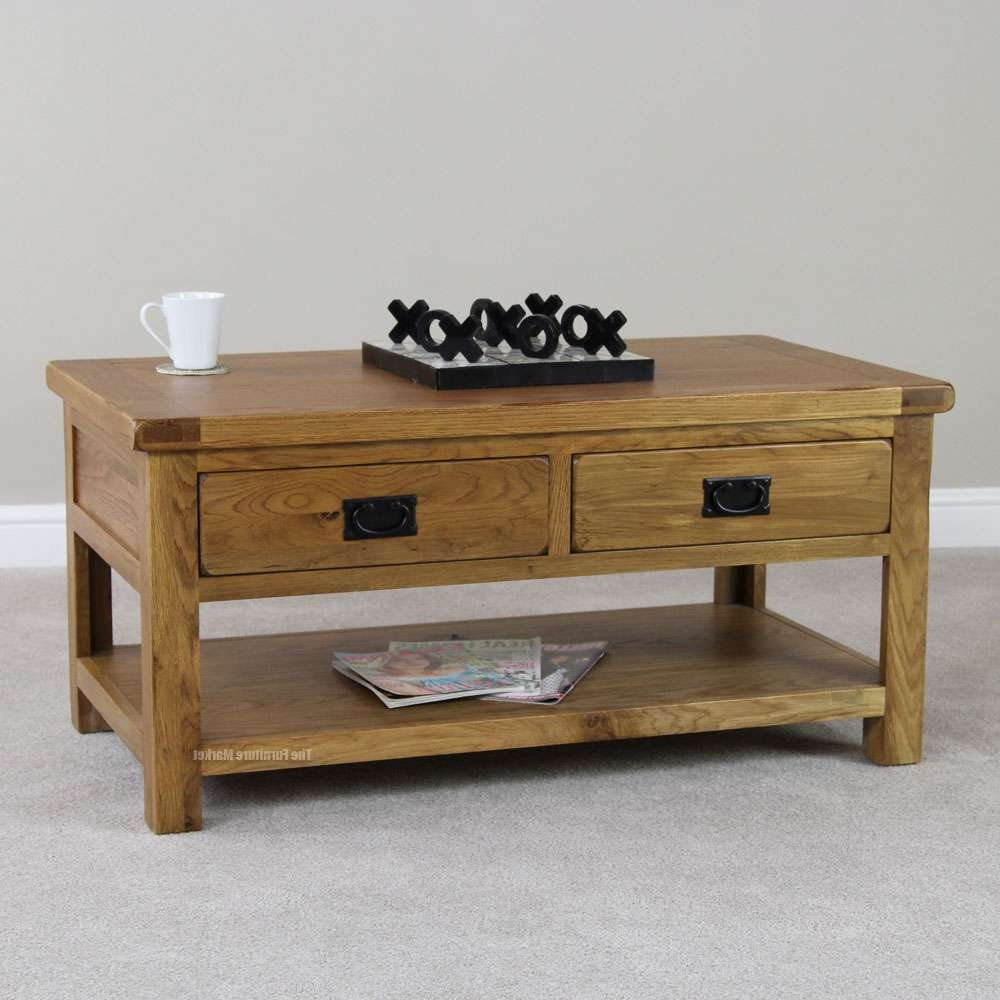 Popular Solid Oak Coffee Table With Storage Pertaining To Luxury Solid Oak Coffee Table With Drawers For Drawer Organization (View 13 of 20)