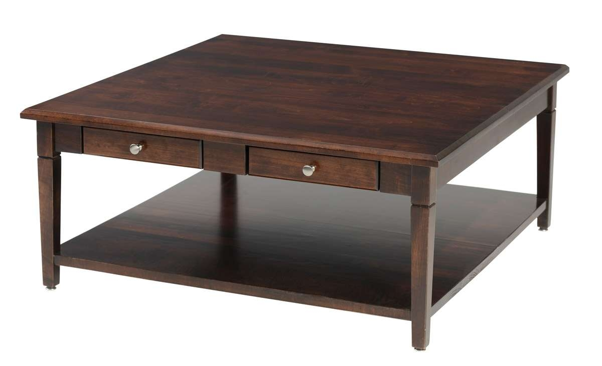 Popular Square Coffee Tables With Drawers In Square Wood Coffee Table With Drawers And Glass Top (View 18 of 20)