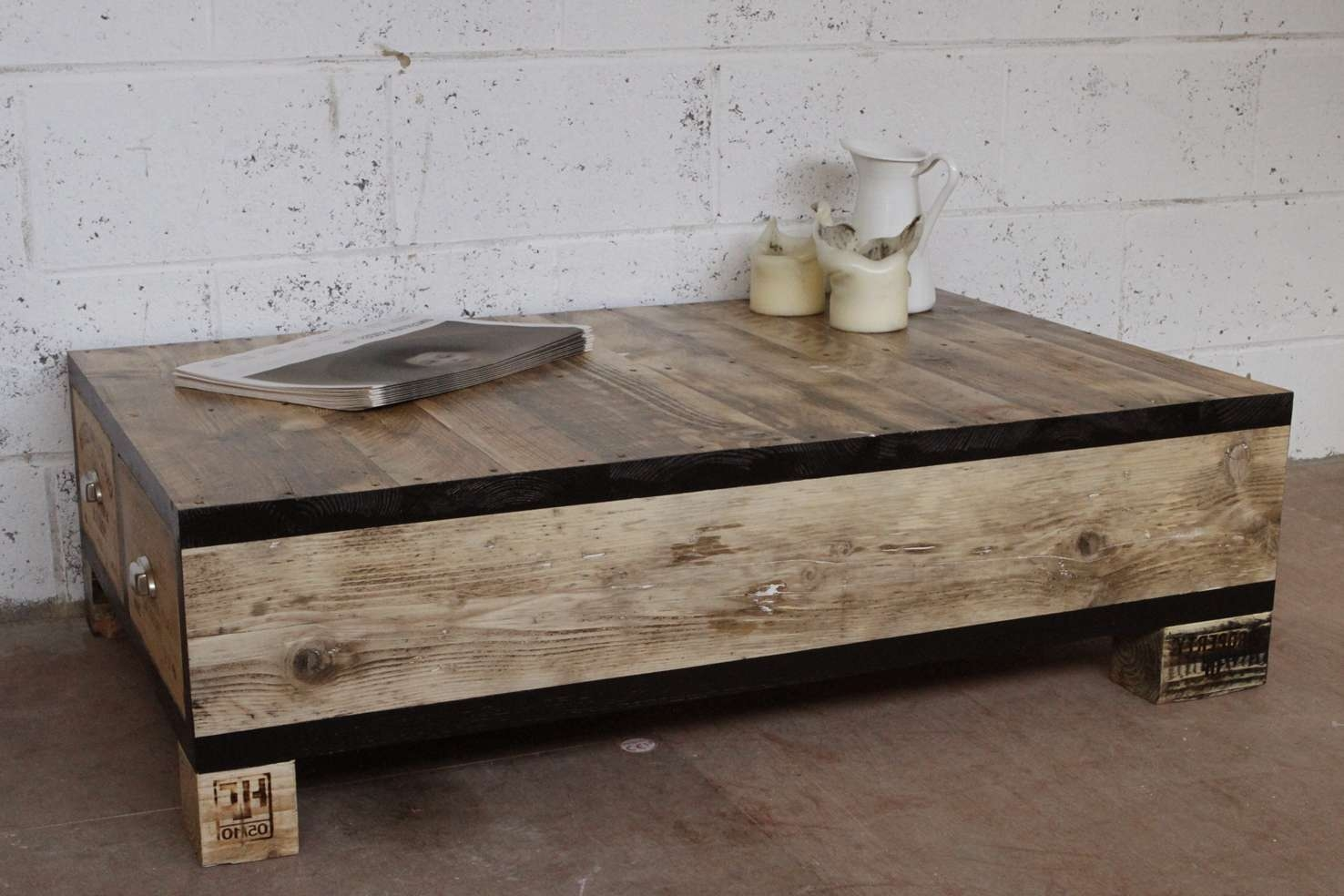 Popular Square Low Coffee Tables With Old And Vintage Diy Square Low Wood Coffe Table With Drawers Using (View 17 of 20)