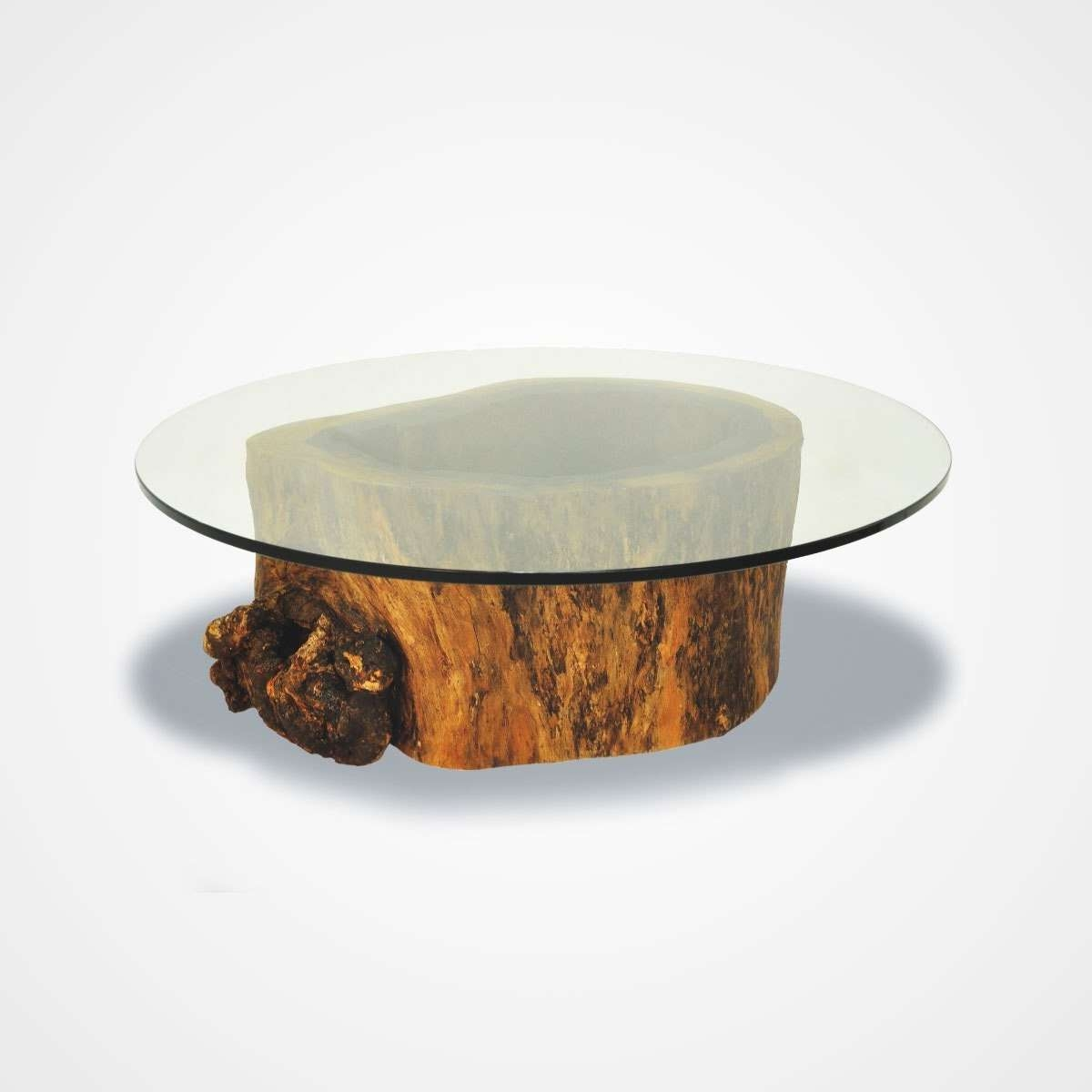 Popular Swirl Glass Coffee Tables Regarding Round Glass Coffee Table Top Picture With Outstanding Wood Base (View 13 of 20)