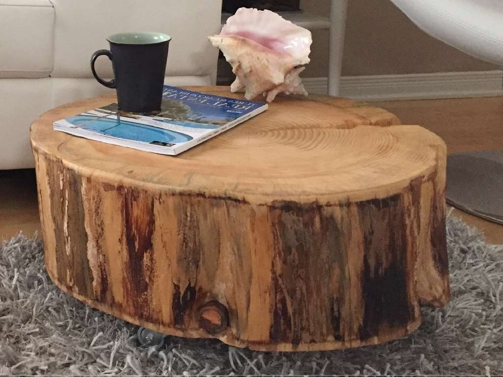 Popular Tree Trunk Coffee Table Within Tree Stump Coffee Table Images : Diy Tree Stump Coffee Table (View 12 of 20)