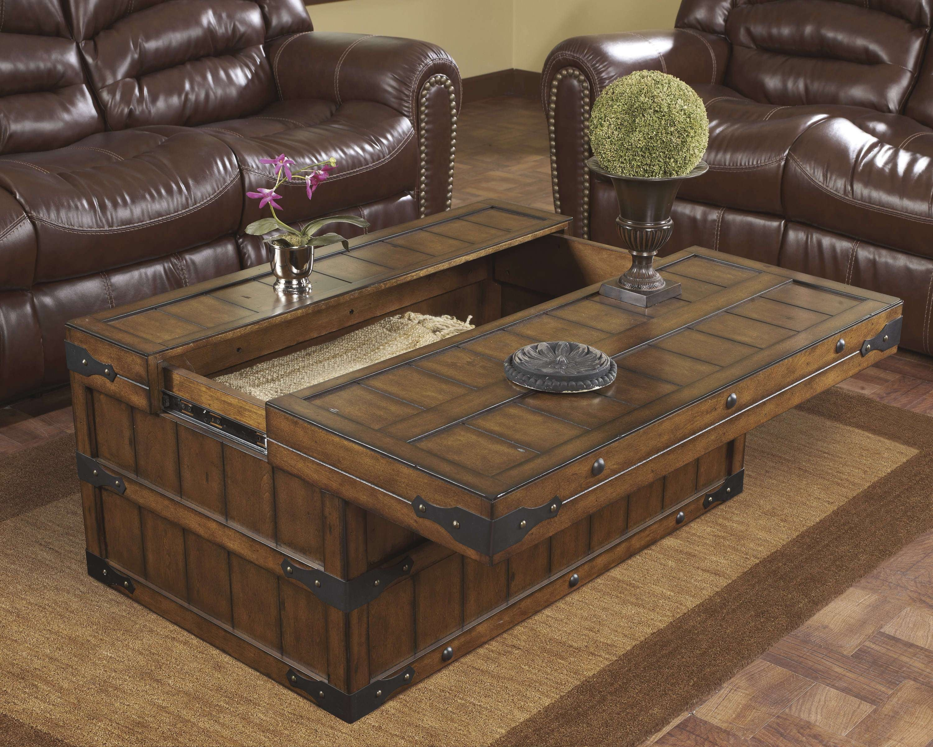 Popular Wooden Trunks Coffee Tables Pertaining To Coffee Tables : Storage Trunk Coffee Table Wooden And End Sets (View 12 of 20)
