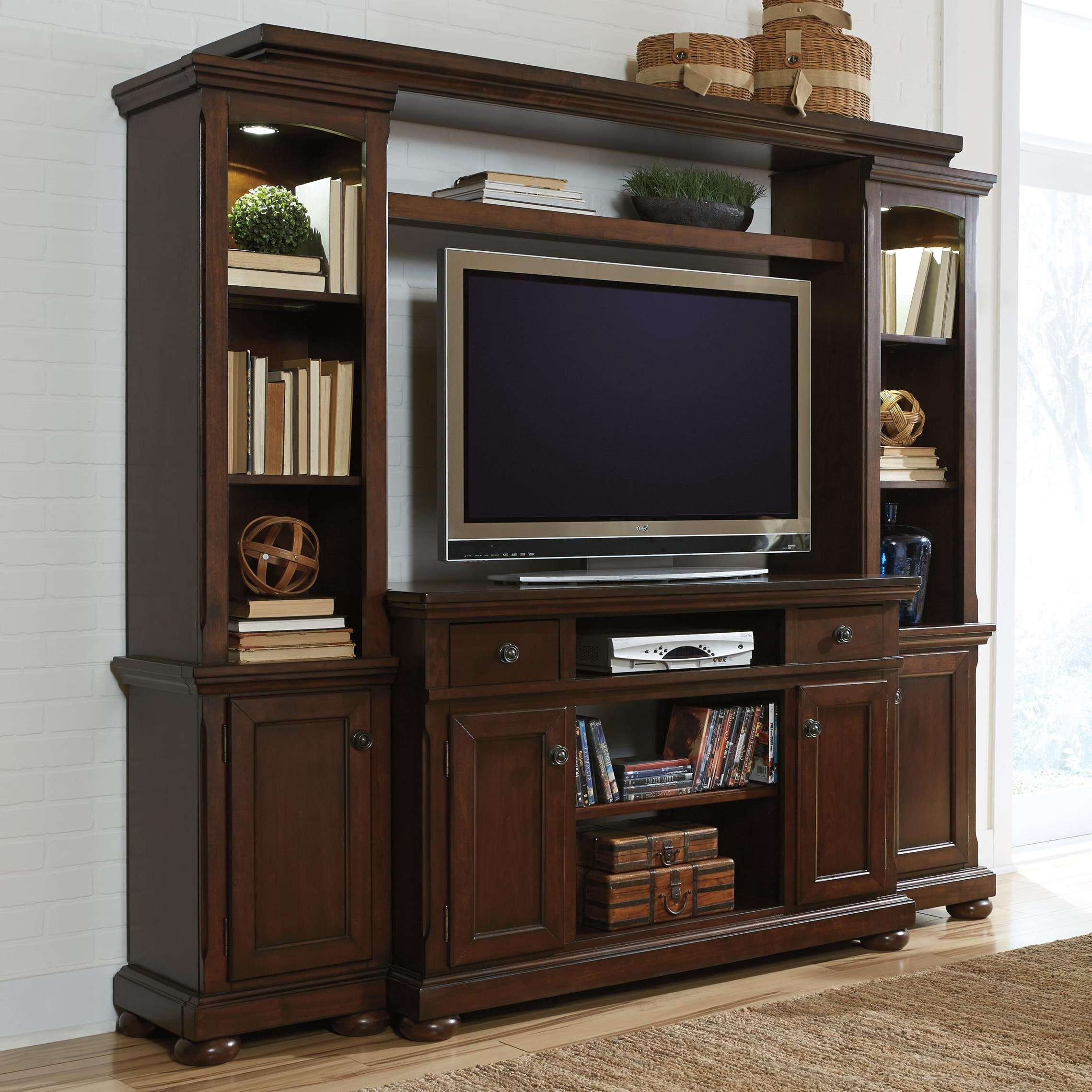 Porter Entertainment Wall Unit W/ Tv Stand, Bridge, And Piers For Large Tv Cabinets (View 5 of 20)