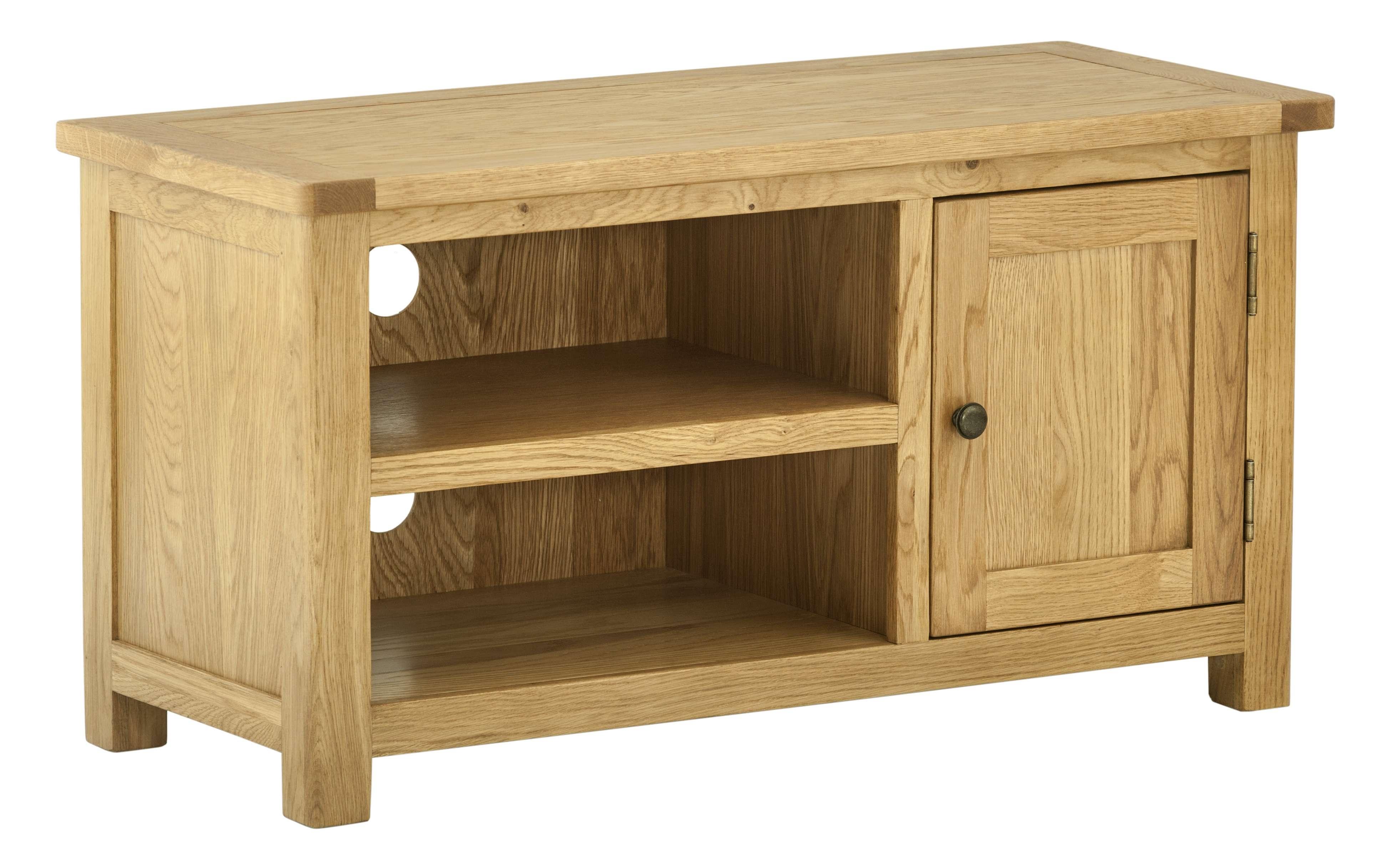Portman Small Tv Cabinet In Oak – Oak Furniturehouse Of Oak In Small Oak Tv Cabinets (View 13 of 20)