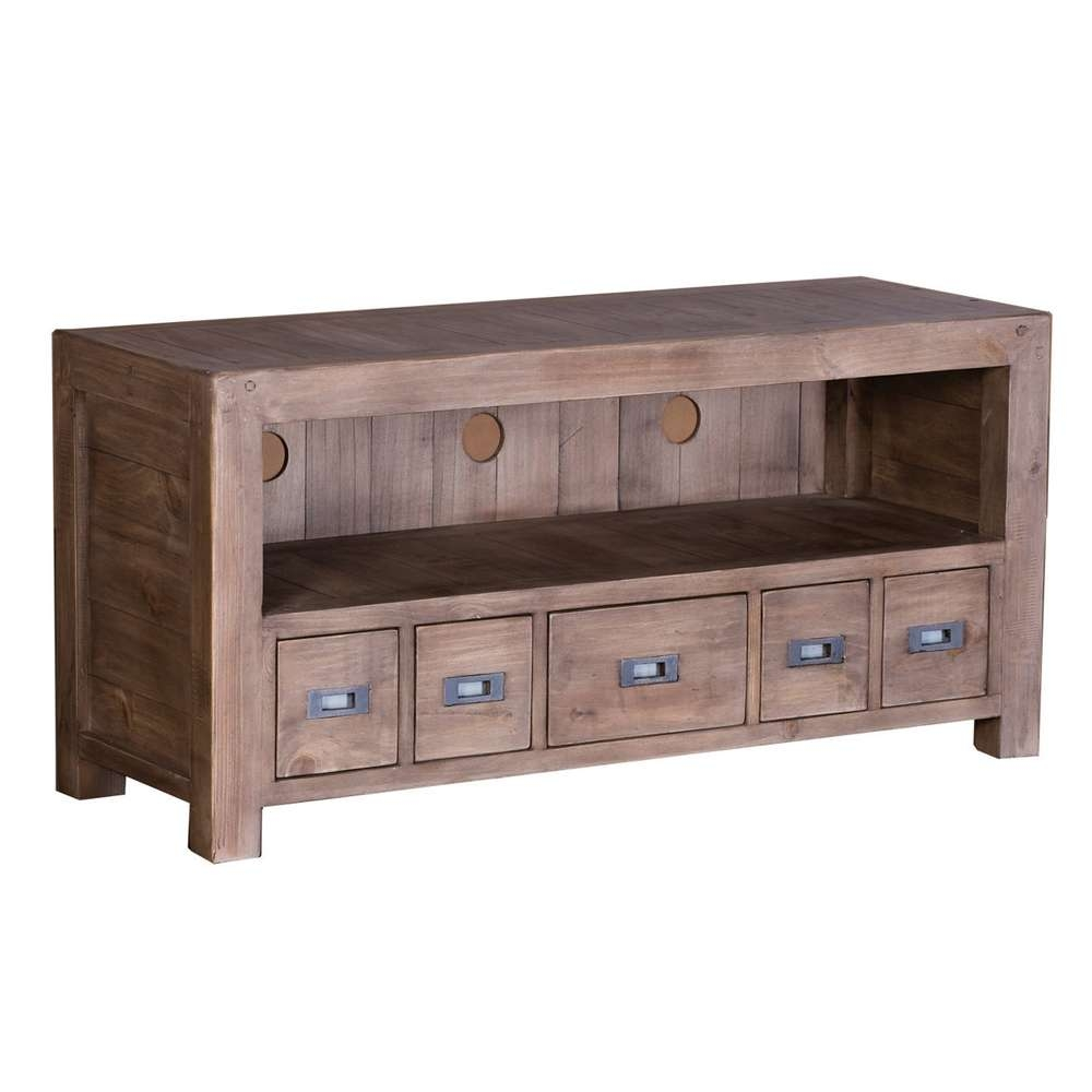 Post & Rail Sundried Reclaimed Pine Tv Cabinet | Occasional Tables Inside Pine Tv Cabinets (View 11 of 20)