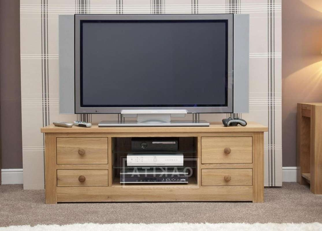 Prague Oak Large Tv Cabinet – Oak Tv Stands & Entertainment Intended For Large Tv Cabinets (View 16 of 20)