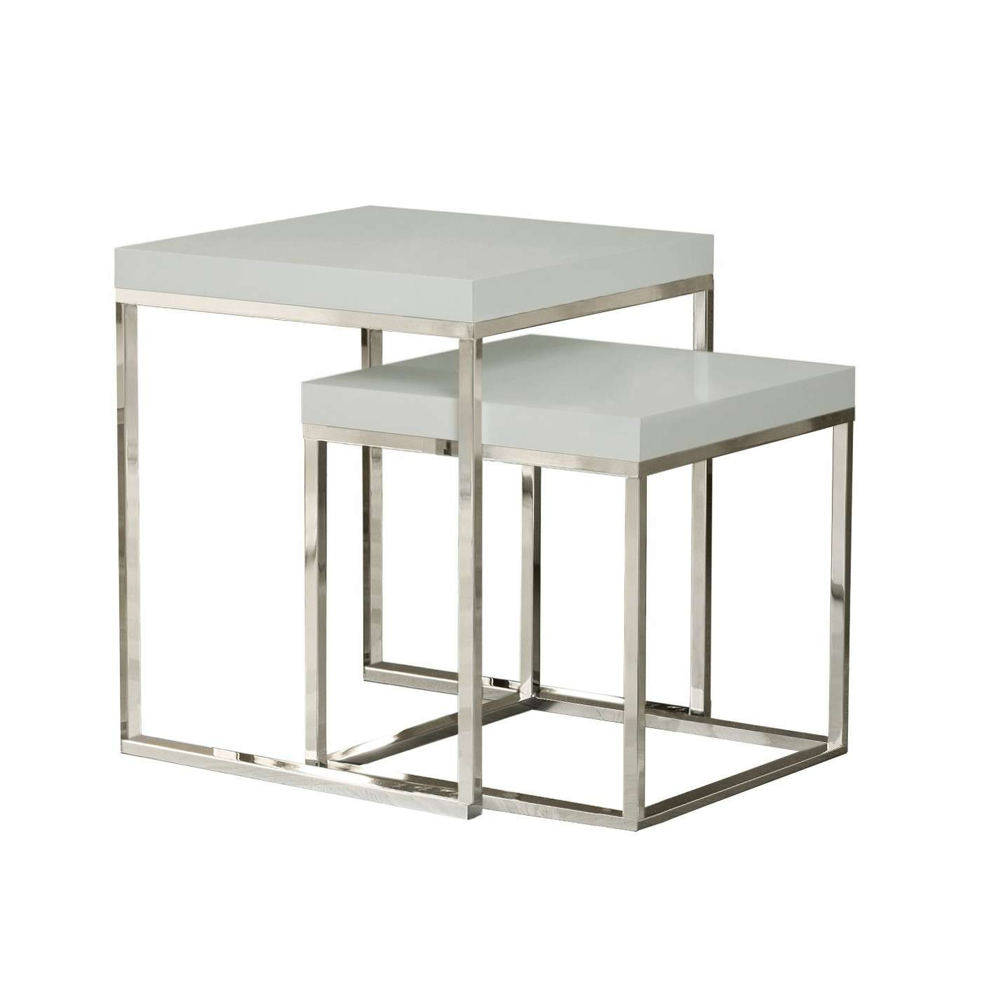 Prairie Nesting Tables High Gloss White Tops / Chrome Legs In Most Recent Chrome Leg Coffee Tables (View 15 of 20)