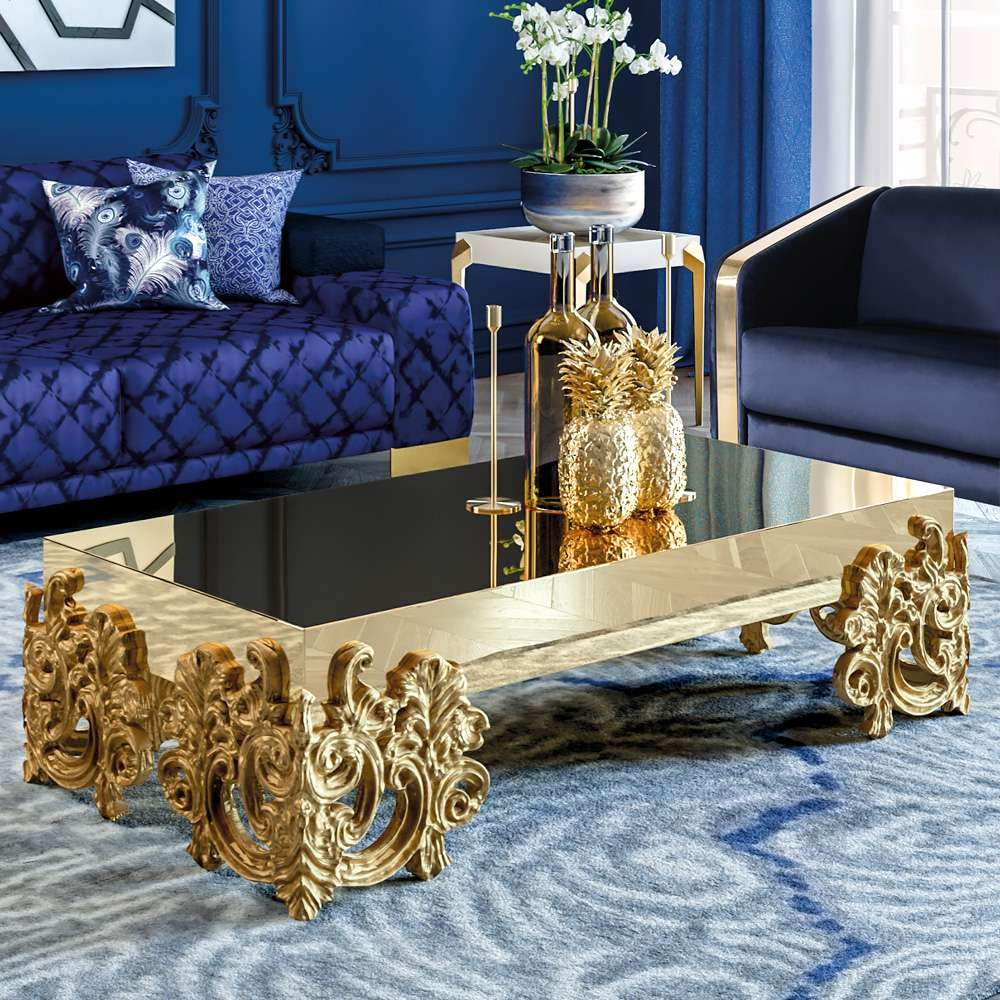 Preferred Baroque Coffee Tables Inside Contemporary Mirrored Gold Baroque Coffee Table (View 14 of 20)