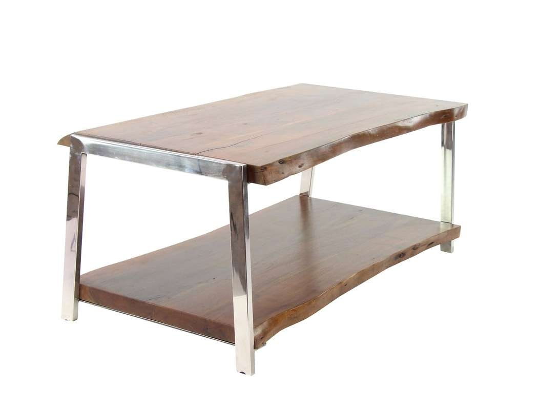 Preferred Coffee Tables With Magazine Rack In Foundry Select Althea Rustic Wood And Stainless Steel Coffee Table (View 2 of 20)