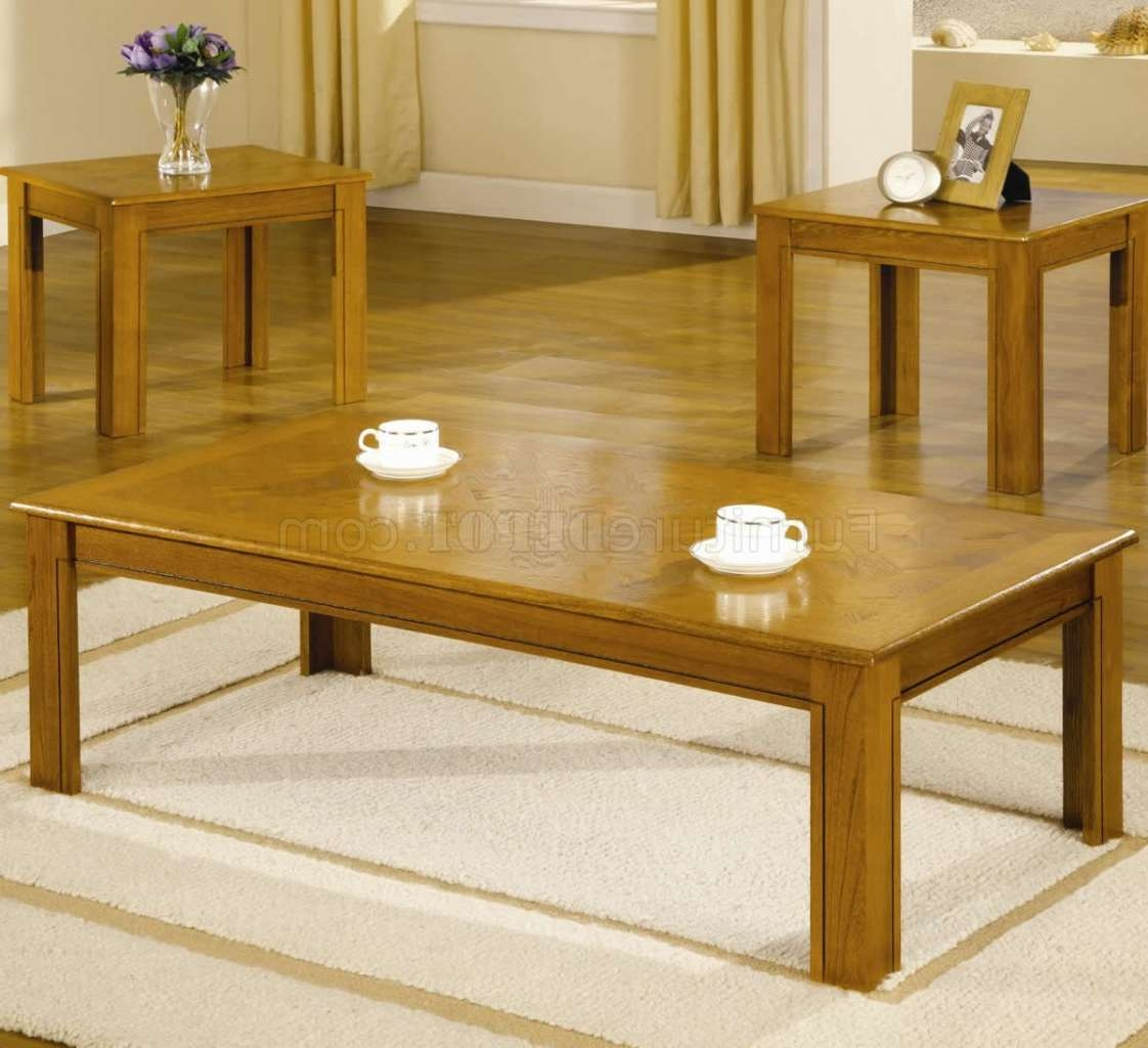 Preferred Contemporary Oak Coffee Table Inside Oak Finish Modern 3Pc Coffee Table Set W/parquet Tops (View 15 of 20)