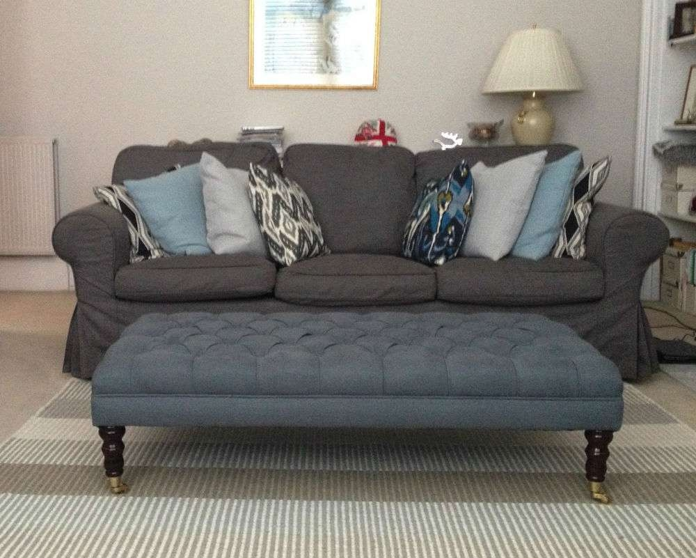 Preferred Footstool Coffee Tables Regarding Fabric Coffee Table: Ottomans & Footstools (View 6 of 20)