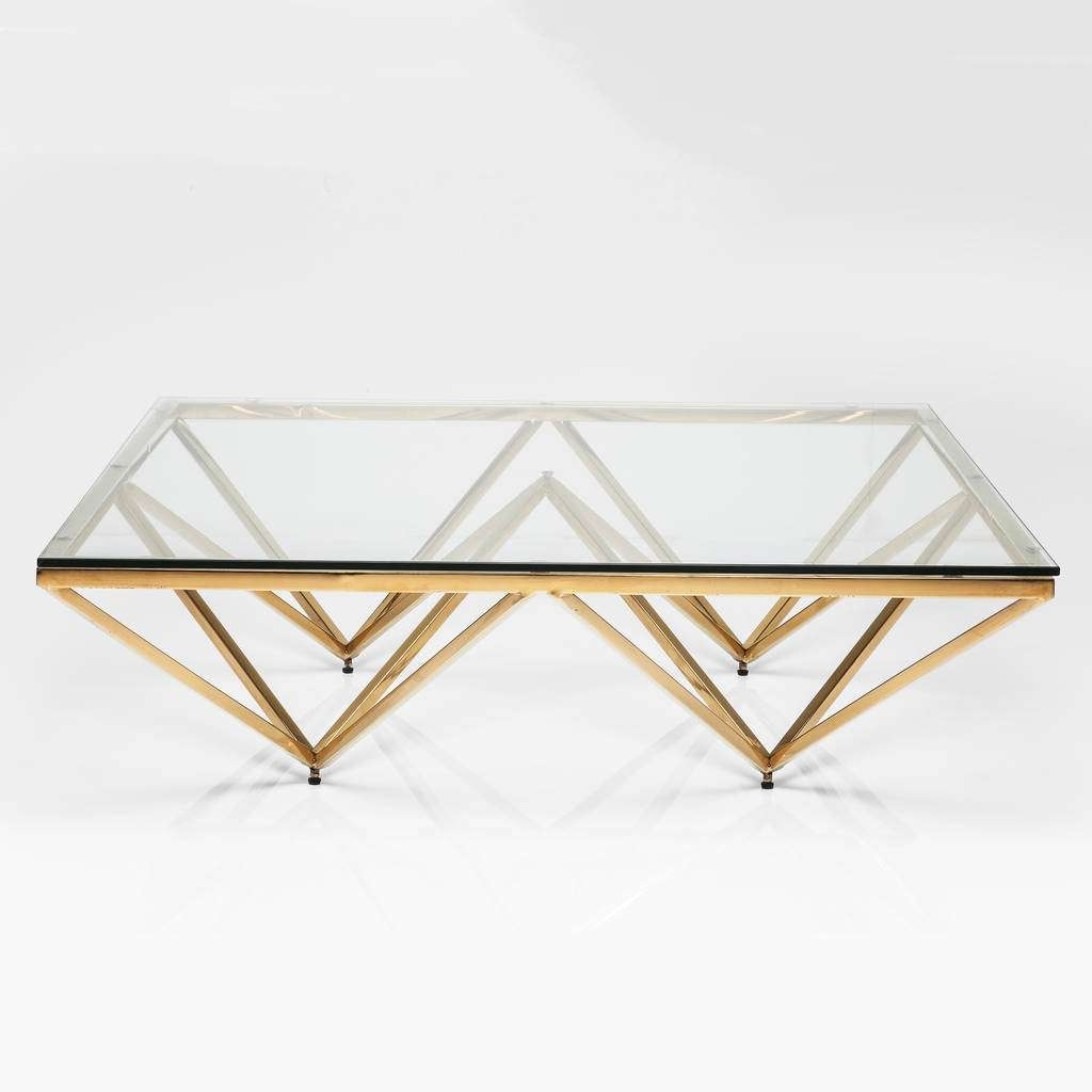 Preferred Glass Coffee Tables With Regard To Art Deco Brass Square Glass Coffee Tablei Love Retro (View 2 of 20)