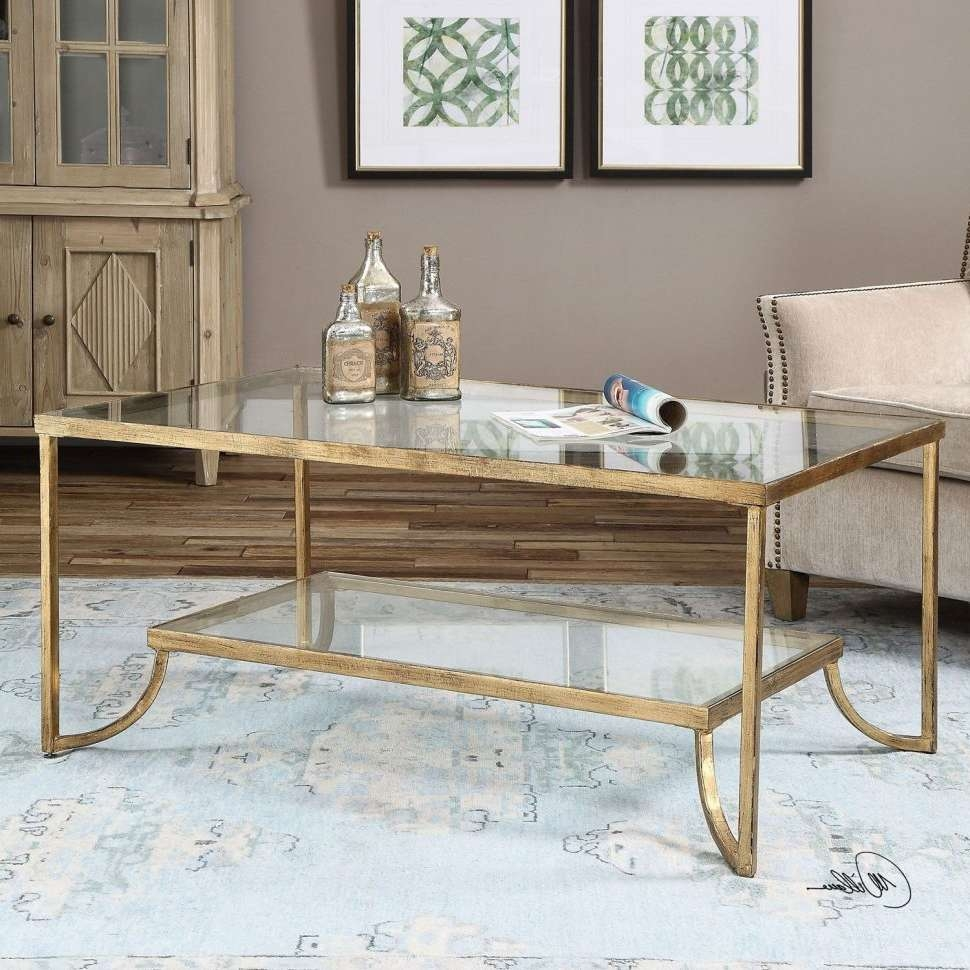 Preferred Glass Gold Coffee Tables Pertaining To Coffee Tables : Small Accent Table Metal Quatrefoil Bookcase (View 19 of 20)