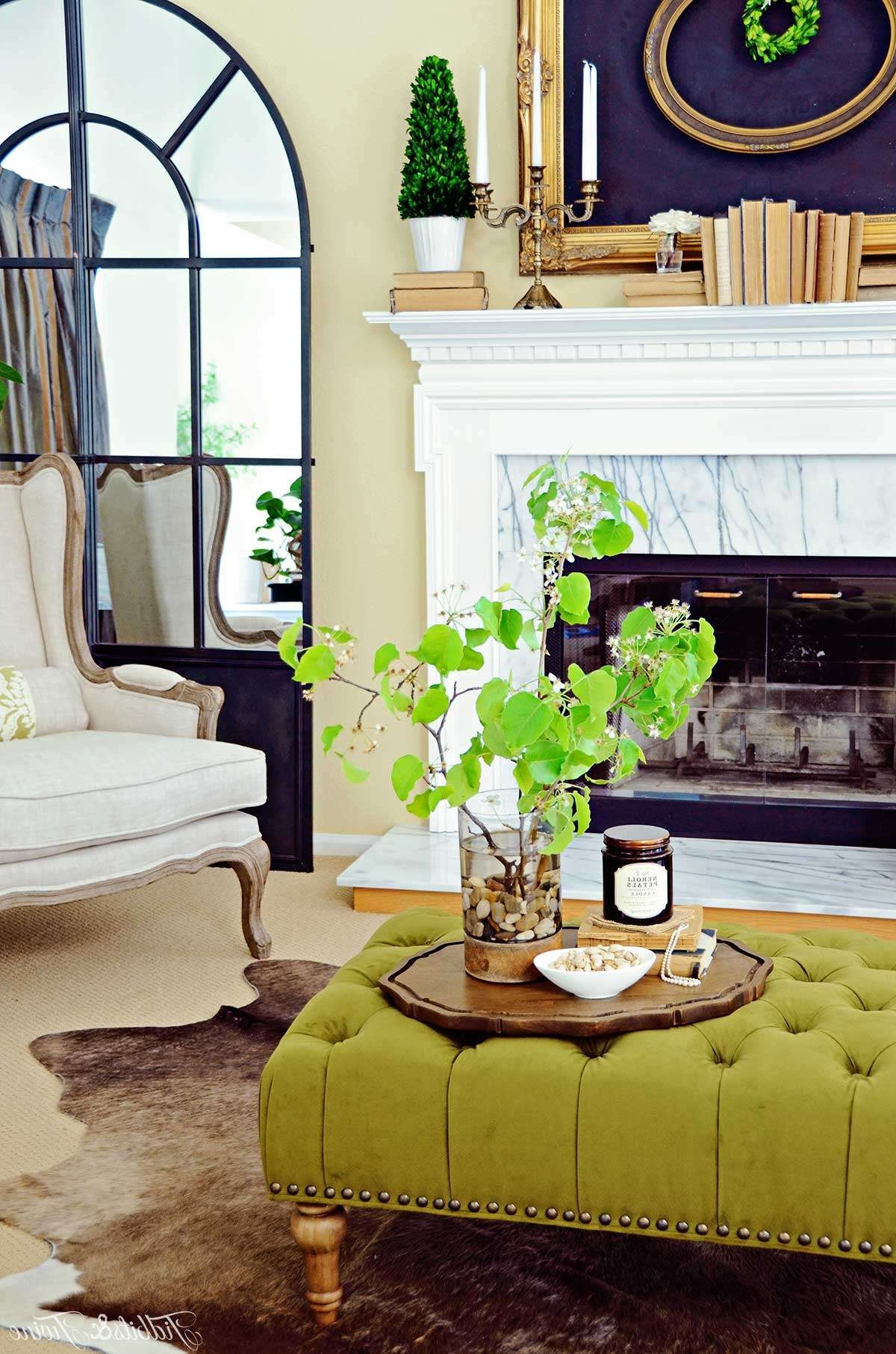 Preferred Green Ottoman Coffee Tables Regarding How To Create A Coffee Table Vignette – Discover (View 20 of 20)
