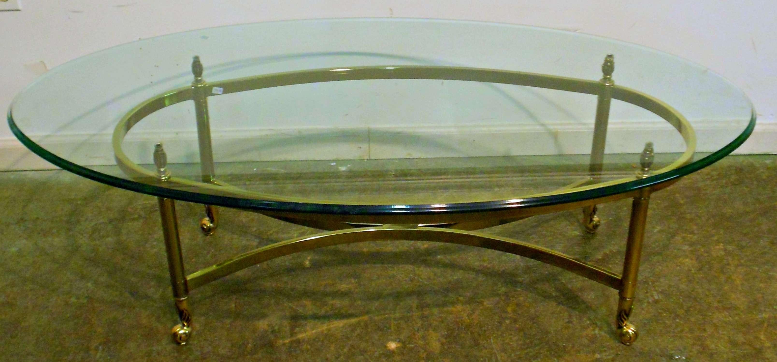 Preferred Large Glass Coffee Tables Intended For Oval Glass Coffee Table Set In Rummy Black Pyramid Design Oval (View 11 of 20)