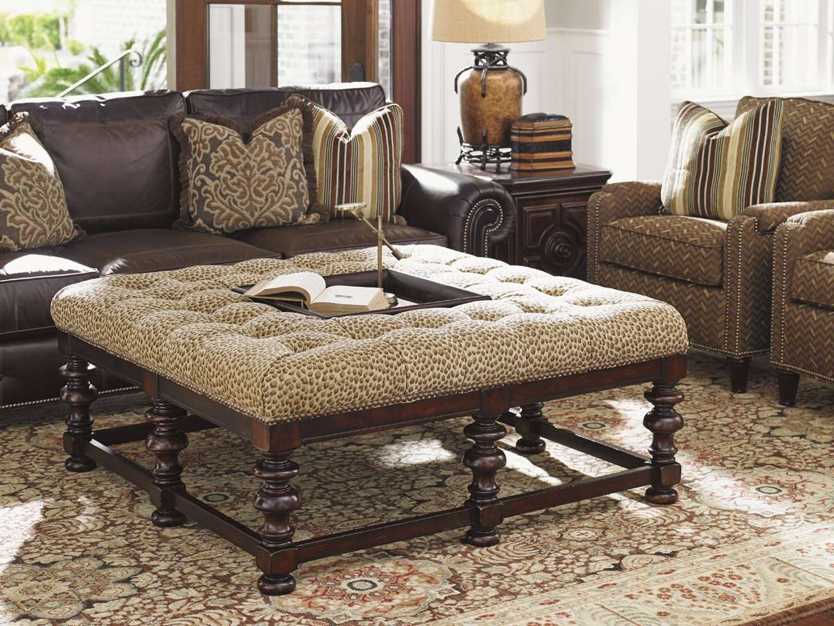 Preferred Leopard Ottoman Coffee Tables With Coffee Table : Tommy Bahama Home Kilimanjaro Heather Button Tufted (View 11 of 20)