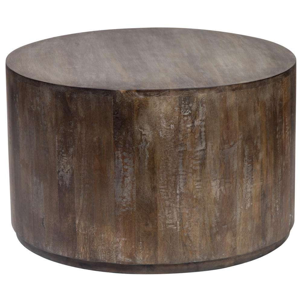 Preferred Mango Wood Coffee Tables Throughout Gray Wash Mango Wood Round Drum Coffee Table 05 108 03 7001 – The (View 16 of 20)