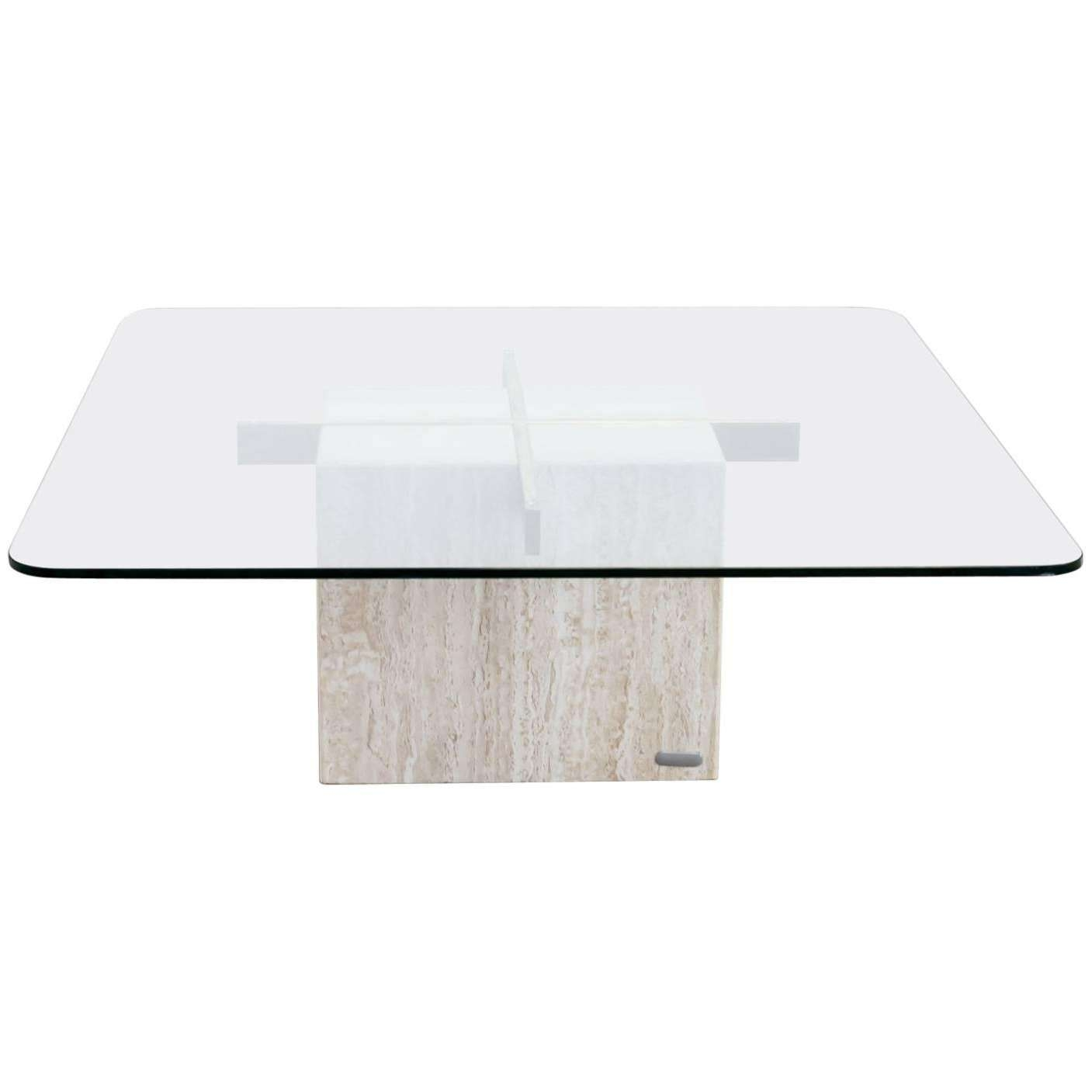 Preferred Marble Base Glass Top Coffee Table Throughout 1970S Artedi Italian Travertine Base, Glass Top Coffee Table For (View 11 of 20)