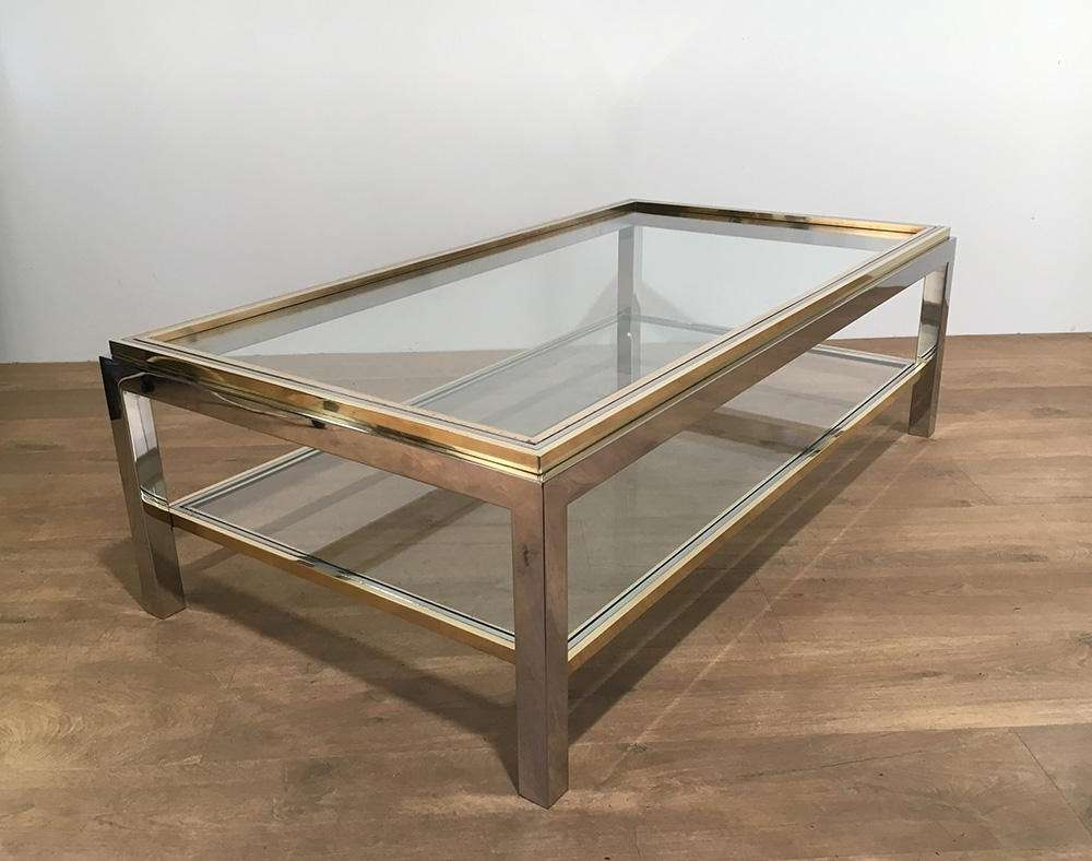 Preferred Retro Glass Coffee Tables In Vintage Glass & Brass Coffee Tablewilly Rizzo, 1970s For Sale (View 13 of 20)