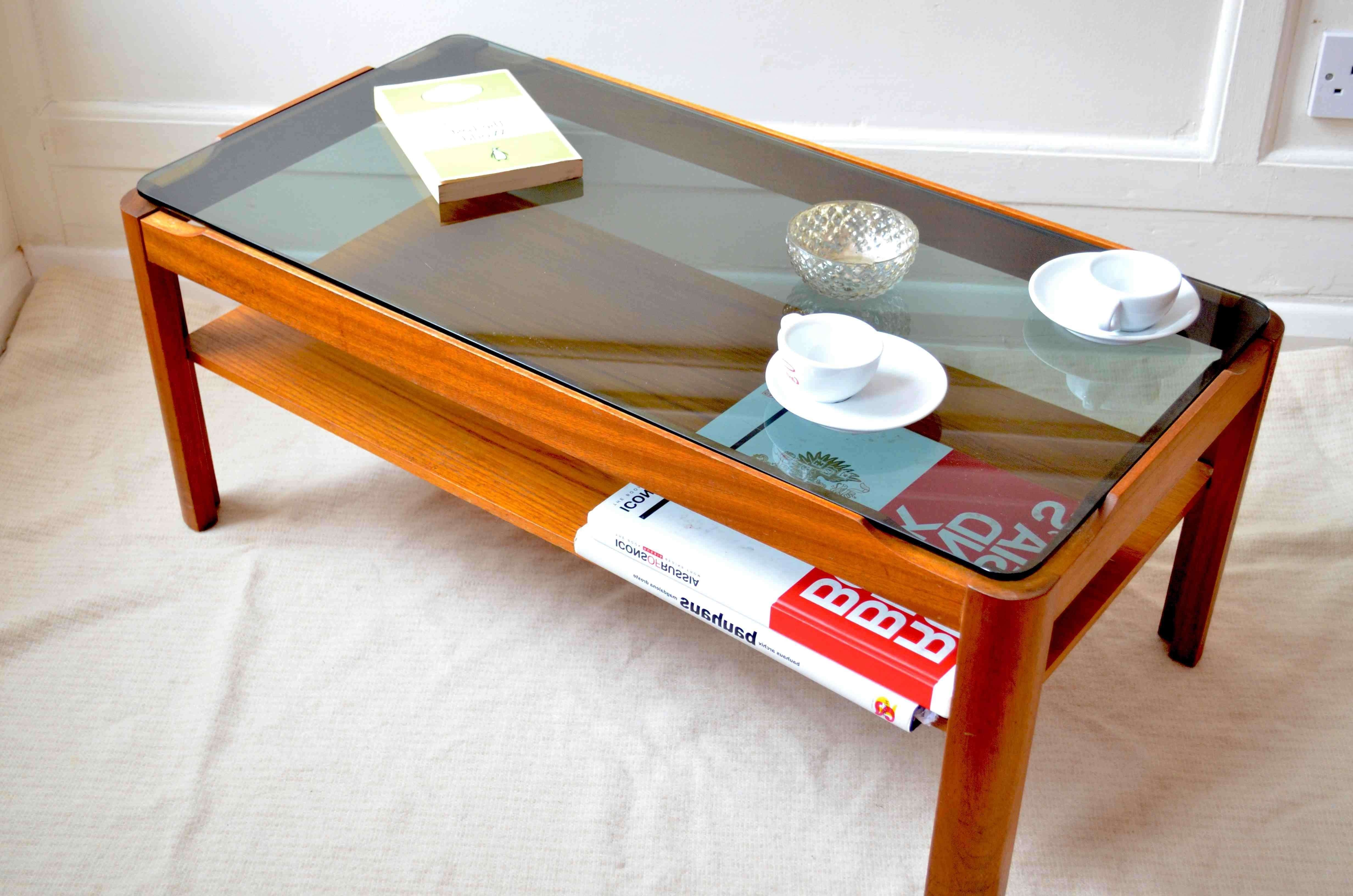 Preferred Retro Smoked Glass Coffee Tables With Regard To Vintage Two Tier Teak And Smoked Glass Coffee Table (View 15 of 20)