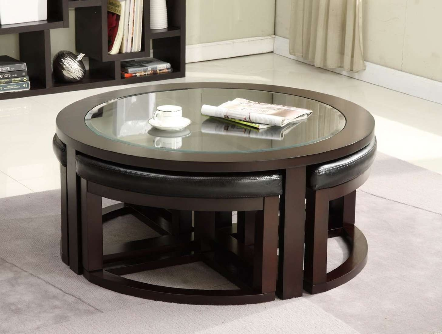 Preferred Round Coffee Table Storages Throughout Coffee Tables : Splendid Round Coffee Table Ottomans Underneath (View 11 of 20)