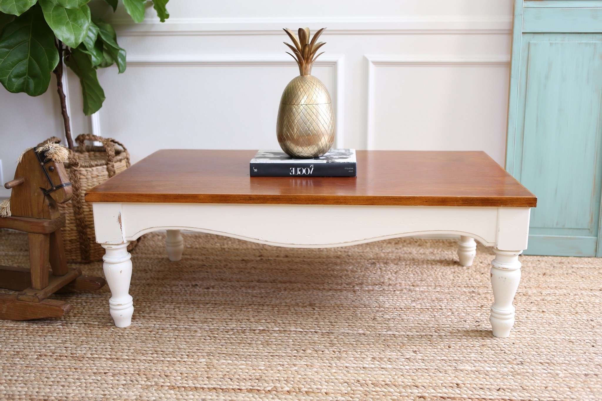 Preferred White Retro Coffee Tables For White And Brown Low Rectangle Stained Wood Vintage Coffee Tables (View 14 of 20)