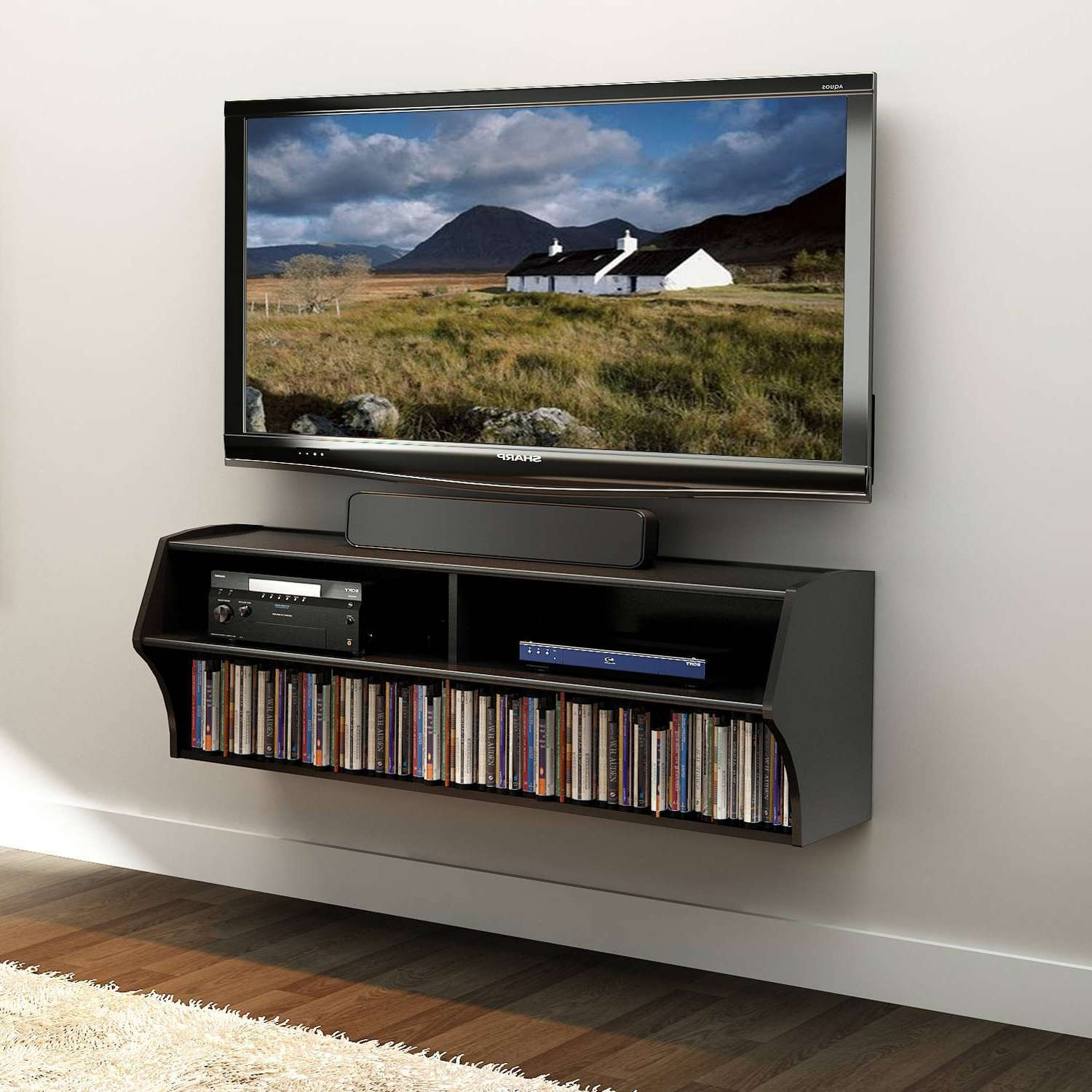 Prepac Altus Wall Mounted A/v Tv Stand, Multiple Finishes With Small Black Tv Cabinets (View 11 of 20)