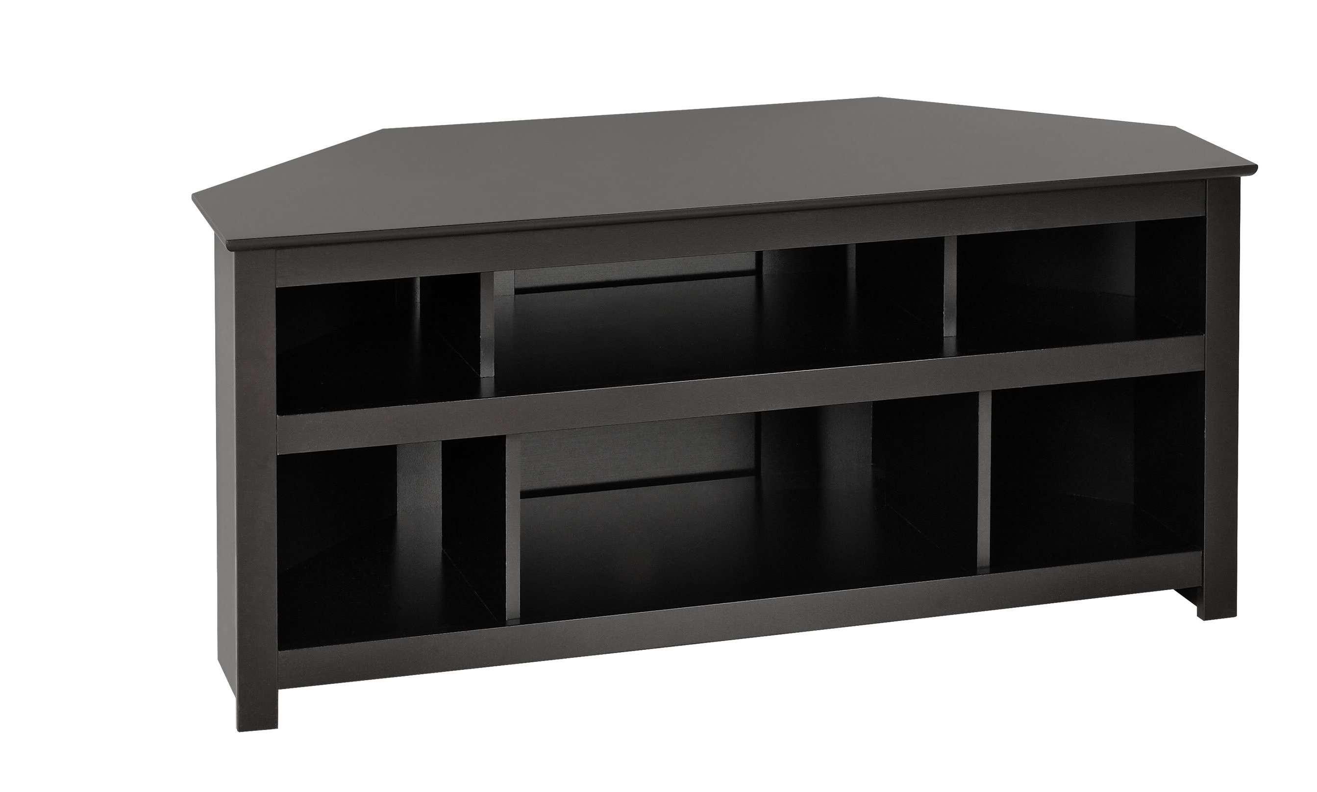 Prepac Vasari Black Corner Av Console – Beyond Stores Intended For Black Corner Tv Cabinets (View 5 of 20)