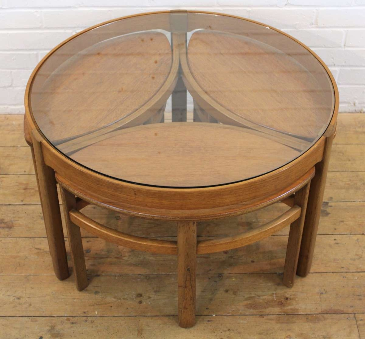 Pretentious Table Mod Stainlesssteel Wood Set3 Nesting Round With Regard To Trendy Retro Teak Glass Coffee Tables (View 19 of 20)