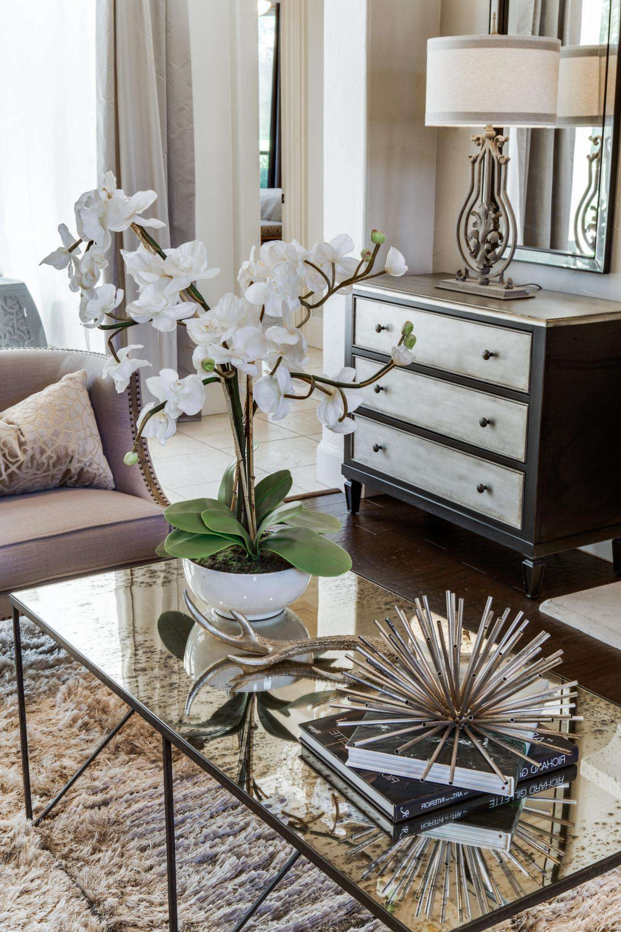 Pretty White Orchid Adorns Mercury Glass Coffee Table How To Style Pertaining To Recent Mercury Glass Coffee Tables (View 15 of 20)