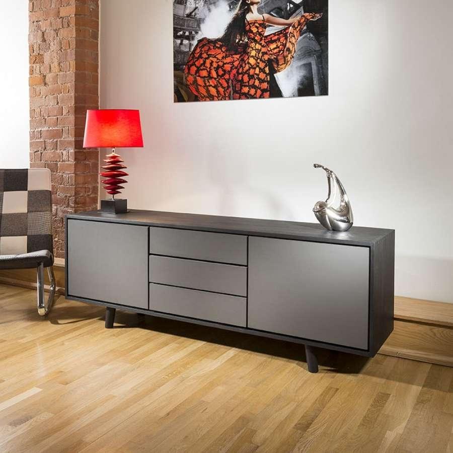 Quatropi Mordern Low Sideboard/cabinet/ Buffet In Black Oak /grey For Low Wooden Sideboards (Gallery 15 of 20)