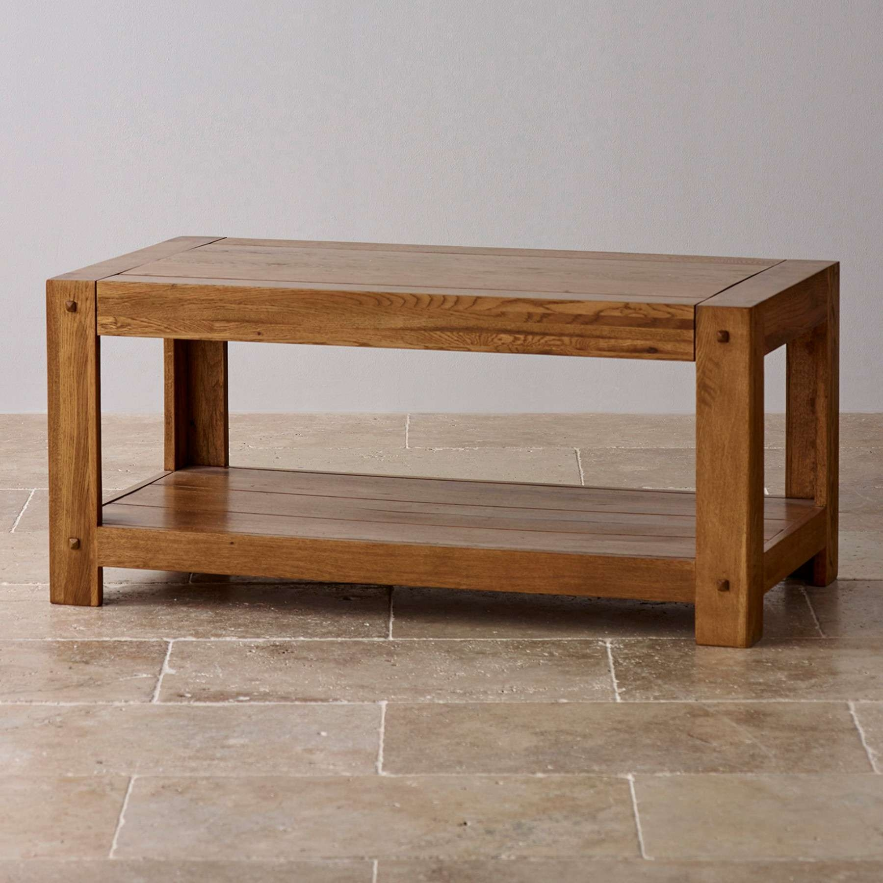 Quercus Rustic Solid Oak Coffee Table Oak Furniture Land Pertaining To Most Popular Solid Oak Coffee Tables (Gallery 3 of 20)