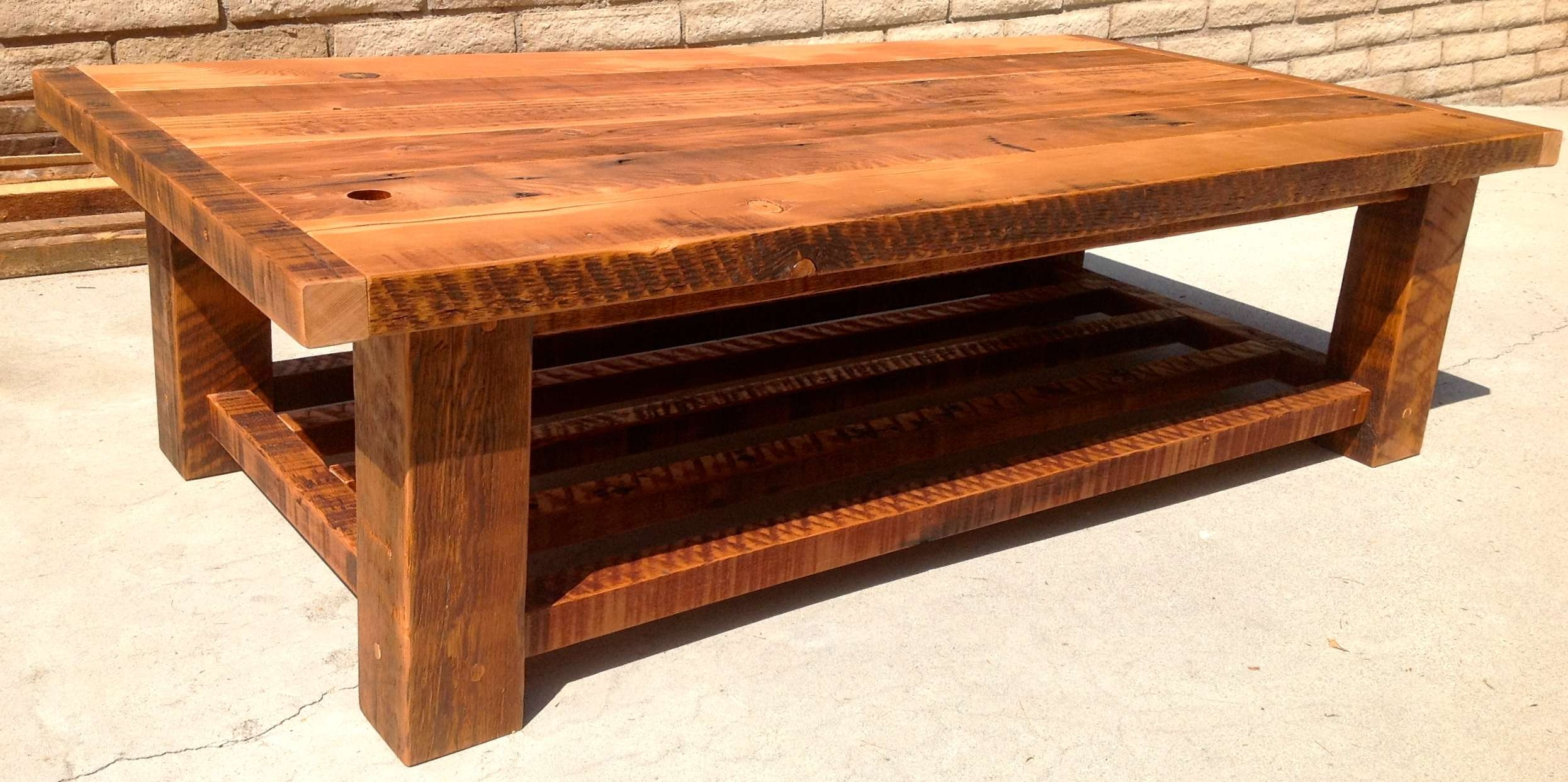 Radiant Light Rustic Wooden Furniture Accessories With With Regard To Most Popular Large Solid Wood Coffee Tables (View 3 of 20)