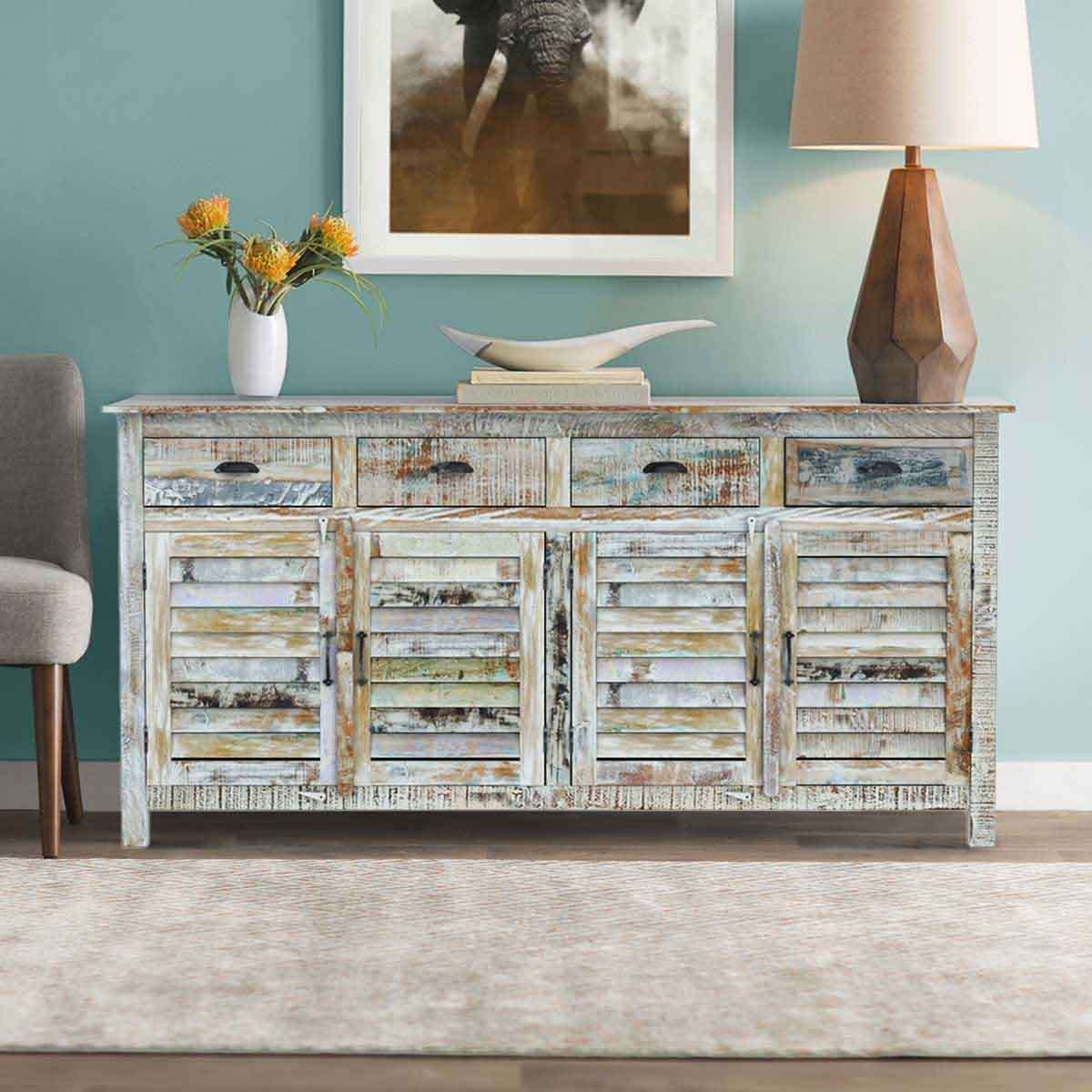 Rainbow Rustic Reclaimed Wood 4 Drawer Sideboard Cabinet For Reclaimed Sideboards (View 7 of 20)