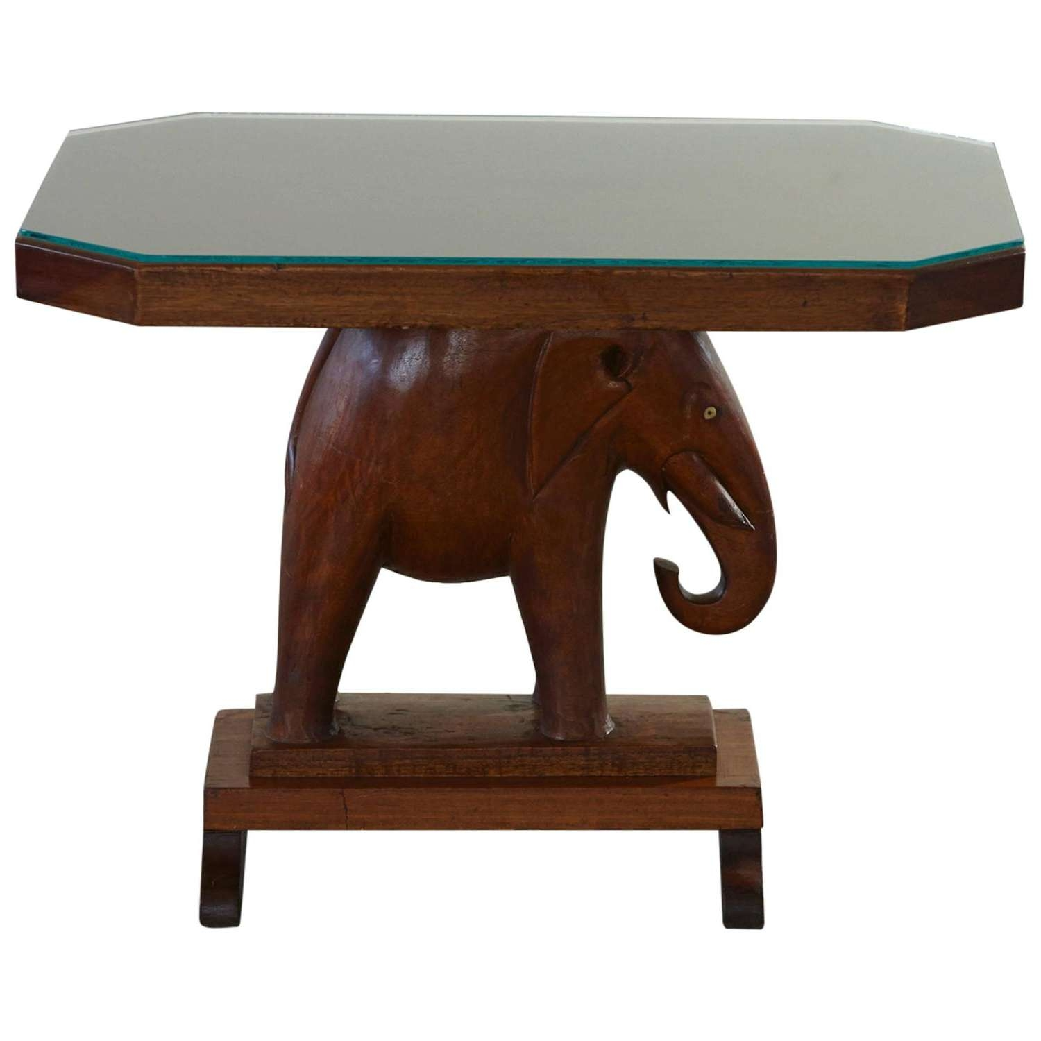 Rare Mahogany Table With Carved Elephant Base Roosevelt Within Most Up To Date Coffee