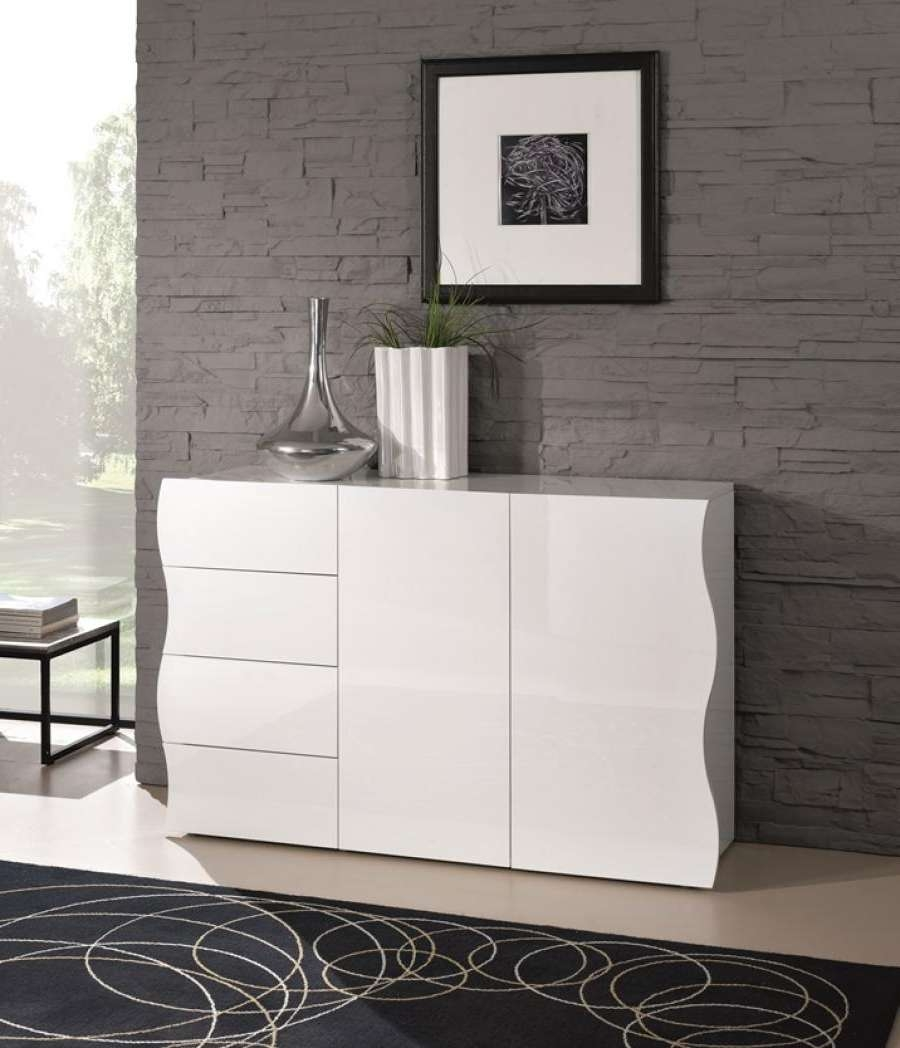 Ravenna, Modern Sideboard, 2 Doors/4 Drawers In White Gloss/matt Regarding High White Gloss Sideboards (View 16 of 20)