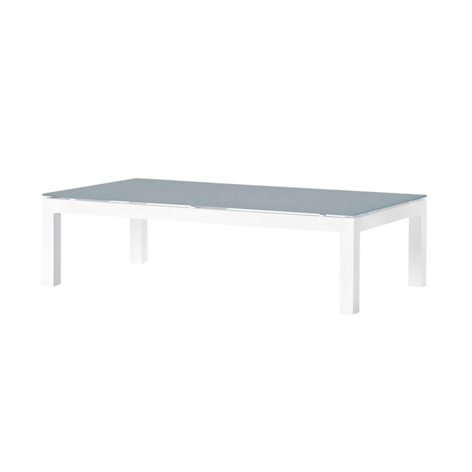 Recent Aluminium Coffee Tables In Venice Aluminium Coffee Table In White With Frosted Grey Glass (View 5 of 20)